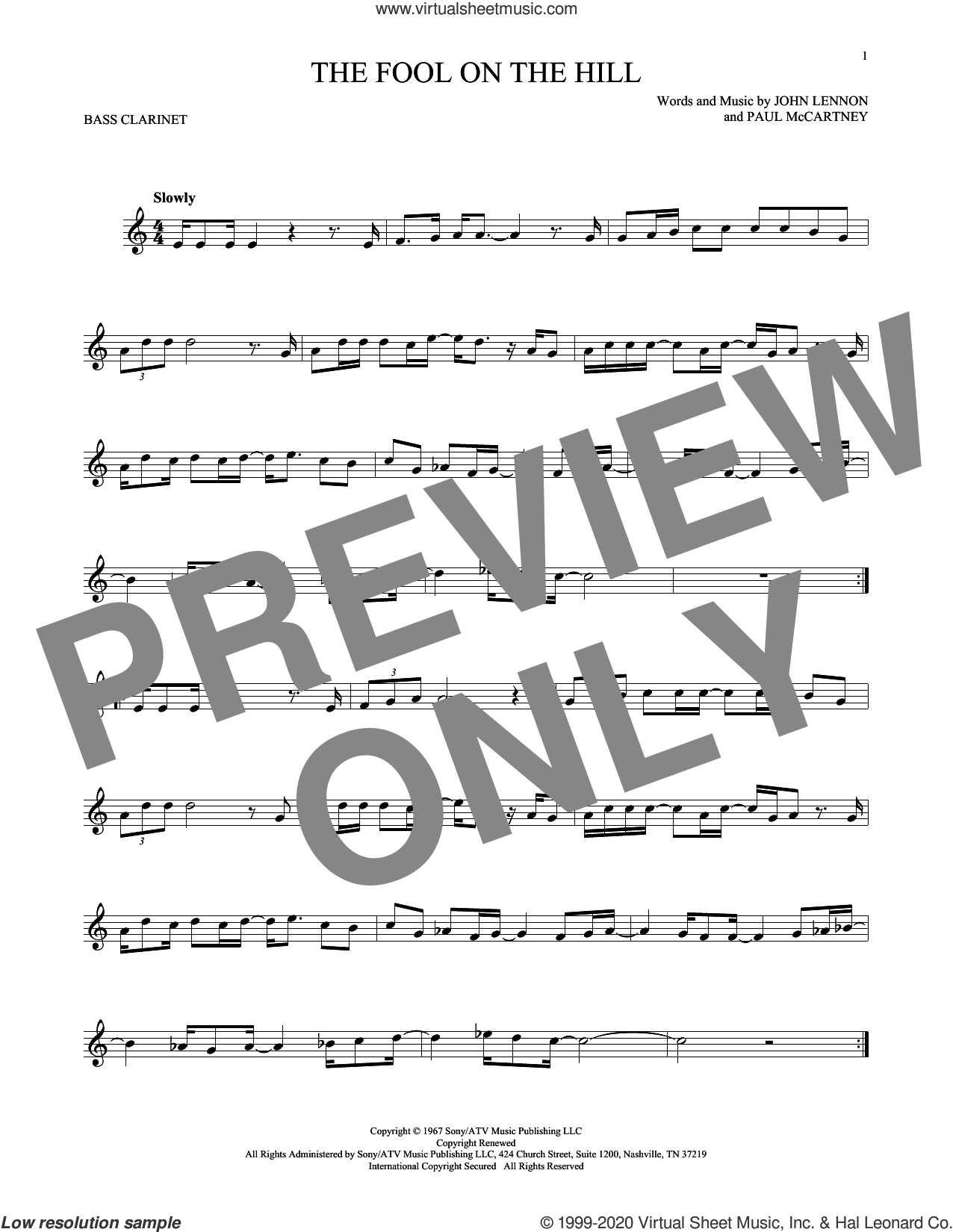 The Fool On The Hill sheet music for Bass Clarinet Solo (clarinetto basso) by The Beatles, John Lennon and Paul McCartney, intermediate skill level