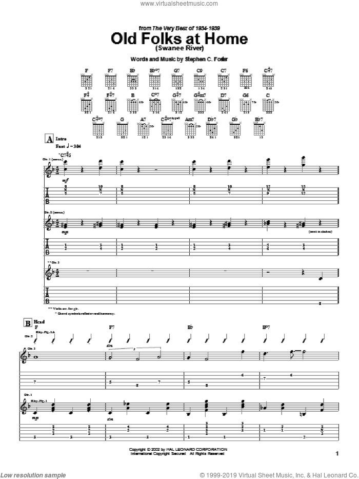 Old Folks At Home (Swanee River) sheet music for guitar (tablature) by Stephen Foster