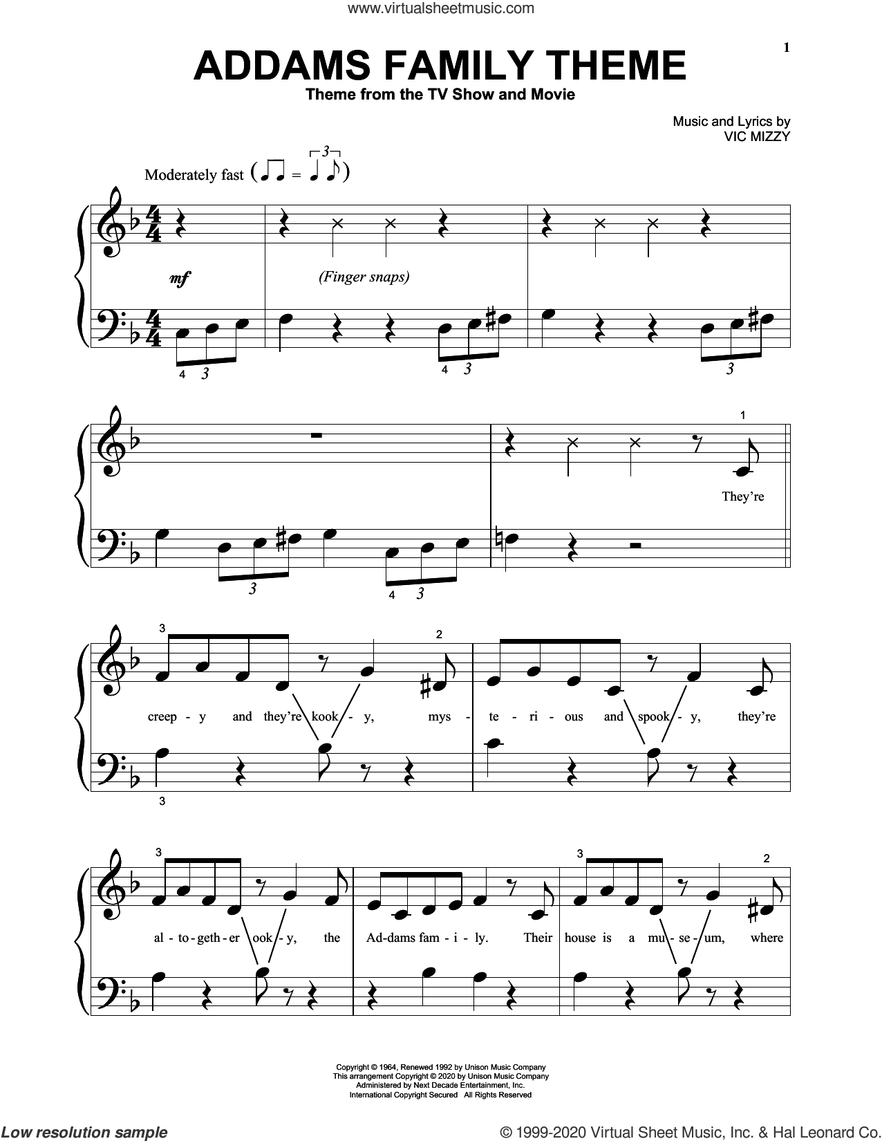 Addams Family Theme sheet music for piano solo (big note book) by Vic Mizzy, easy piano (big note book)