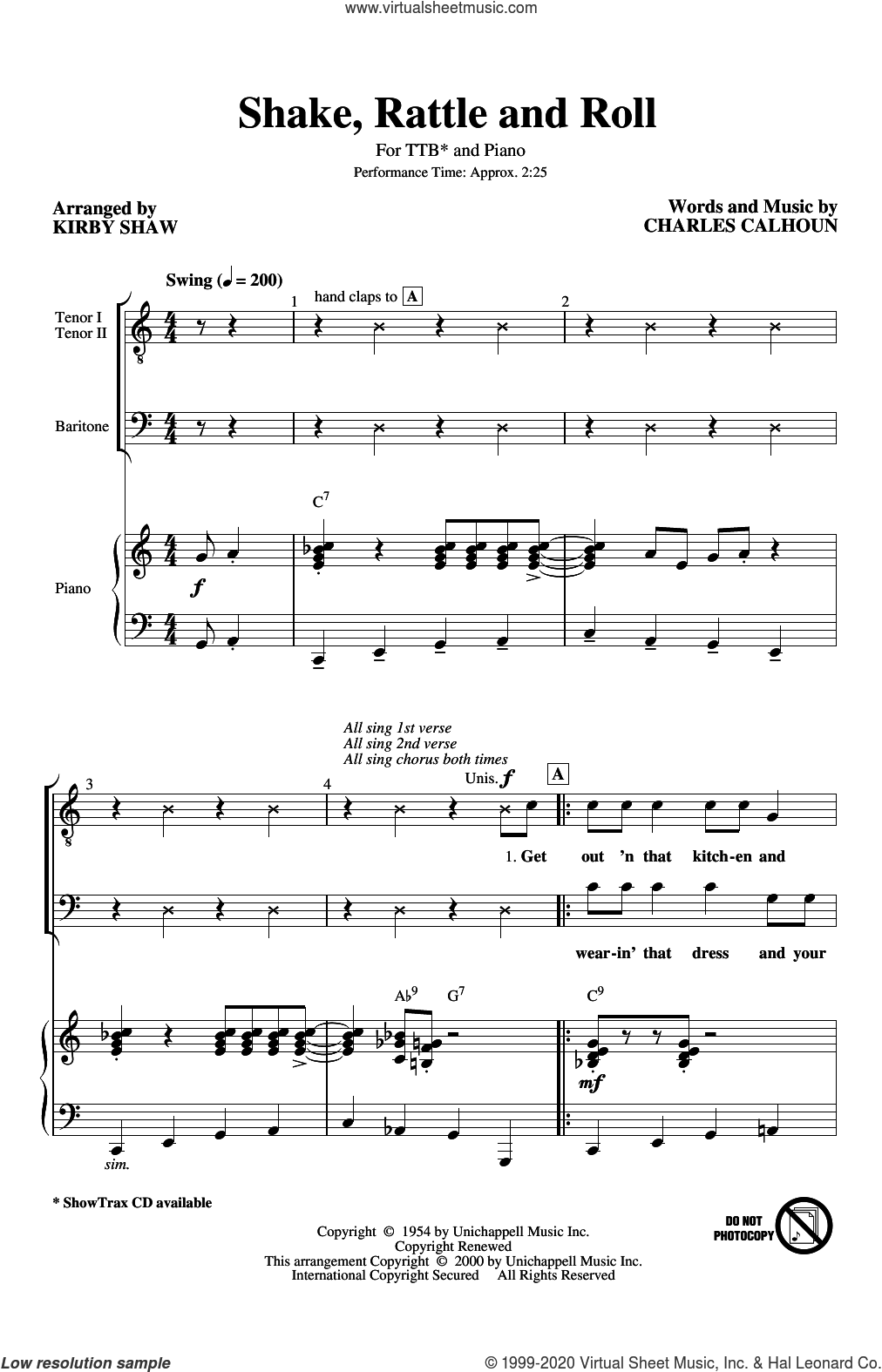 Shake, Rattle And Roll (arr. Kirby Shaw) sheet music for choir (TTBB: tenor, bass) by Bill Haley & His Comets, Kirby Shaw and Charles Calhoun, intermediate skill level