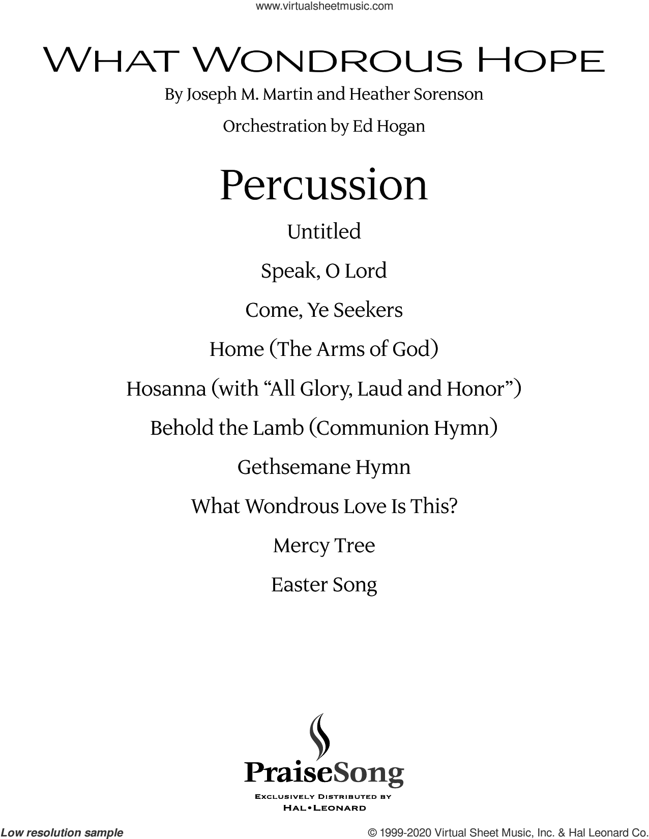 What Wondrous Hope (Praise Band) sheet music for orchestra/band (percussion) by Joseph M. Martin and Heather Sorenson, Heather Sorenson and Joseph M. Martin, intermediate skill level