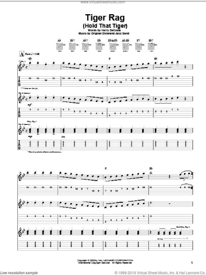 Tiger Rag (Hold That Tiger) sheet music for guitar (tablature) by Original Dixieland Jazz Band. Score Image Preview.