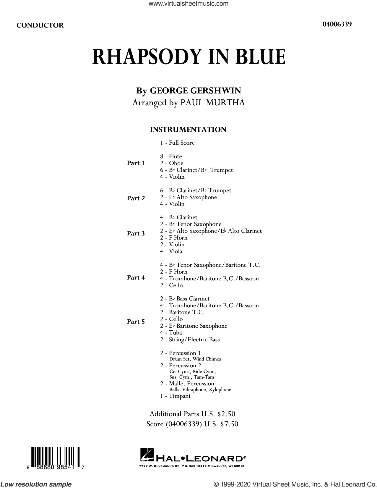 Rhapsody in Blue (arr. Paul Murtha) (COMPLETE) sheet music for concert band by George Gershwin and Paul Murtha, intermediate skill level
