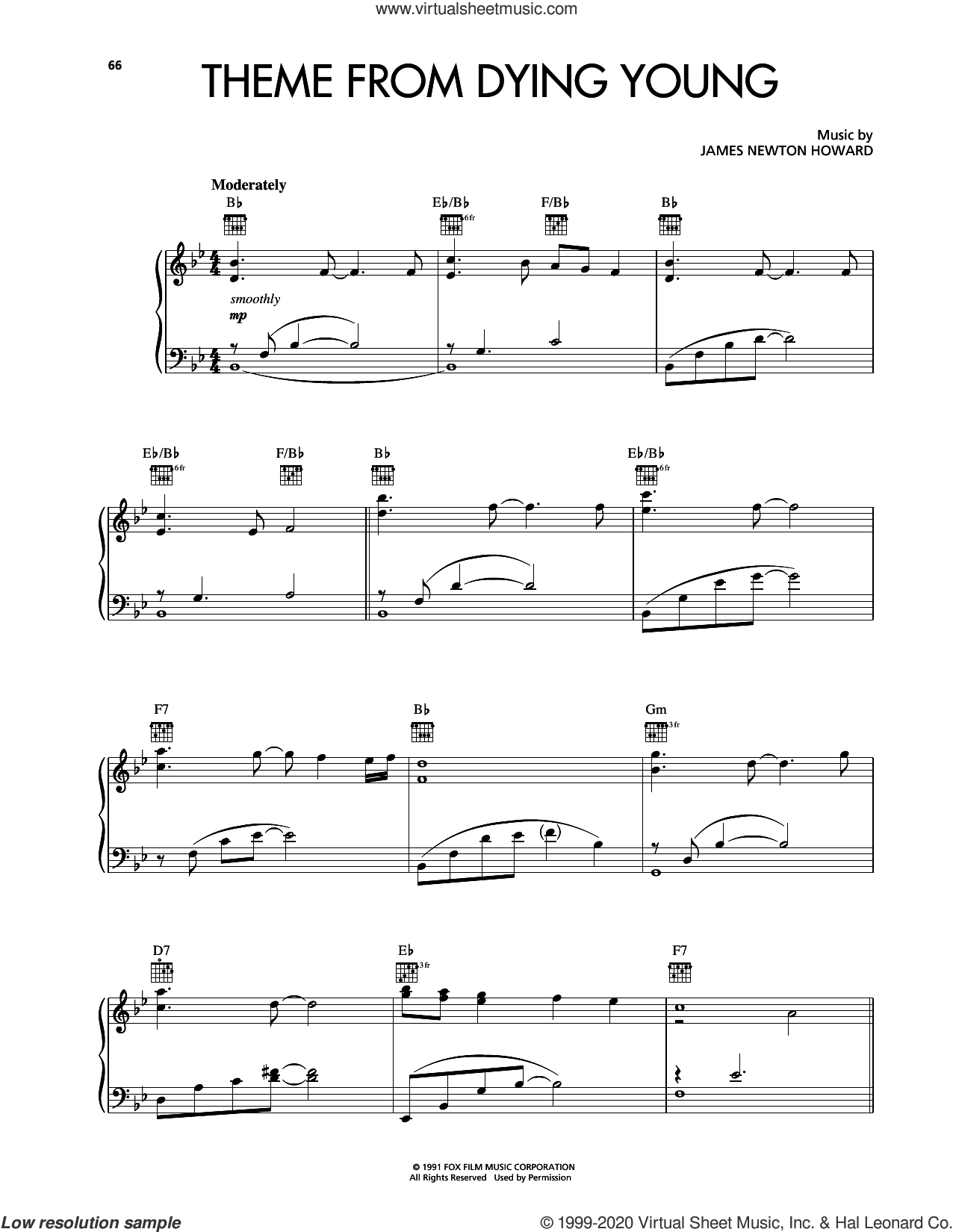 Theme From Dying Young sheet music for piano solo by Kenny G and James Newton Howard, intermediate skill level