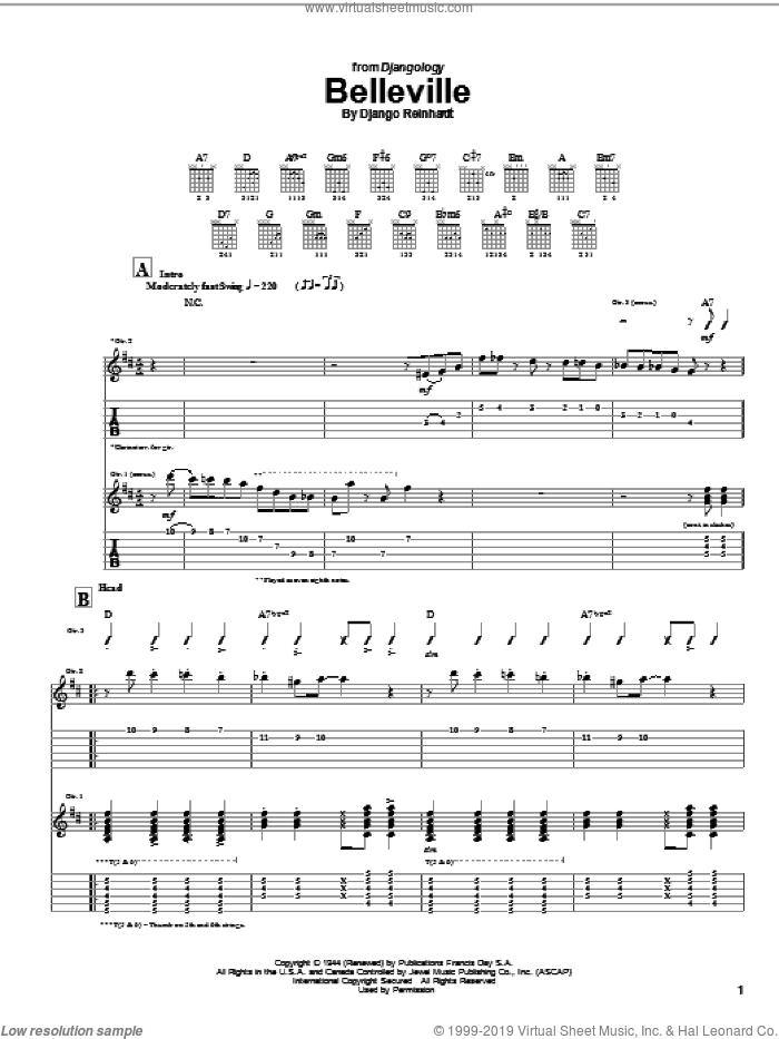 Belleville sheet music for guitar (tablature) by Django Reinhardt, intermediate skill level
