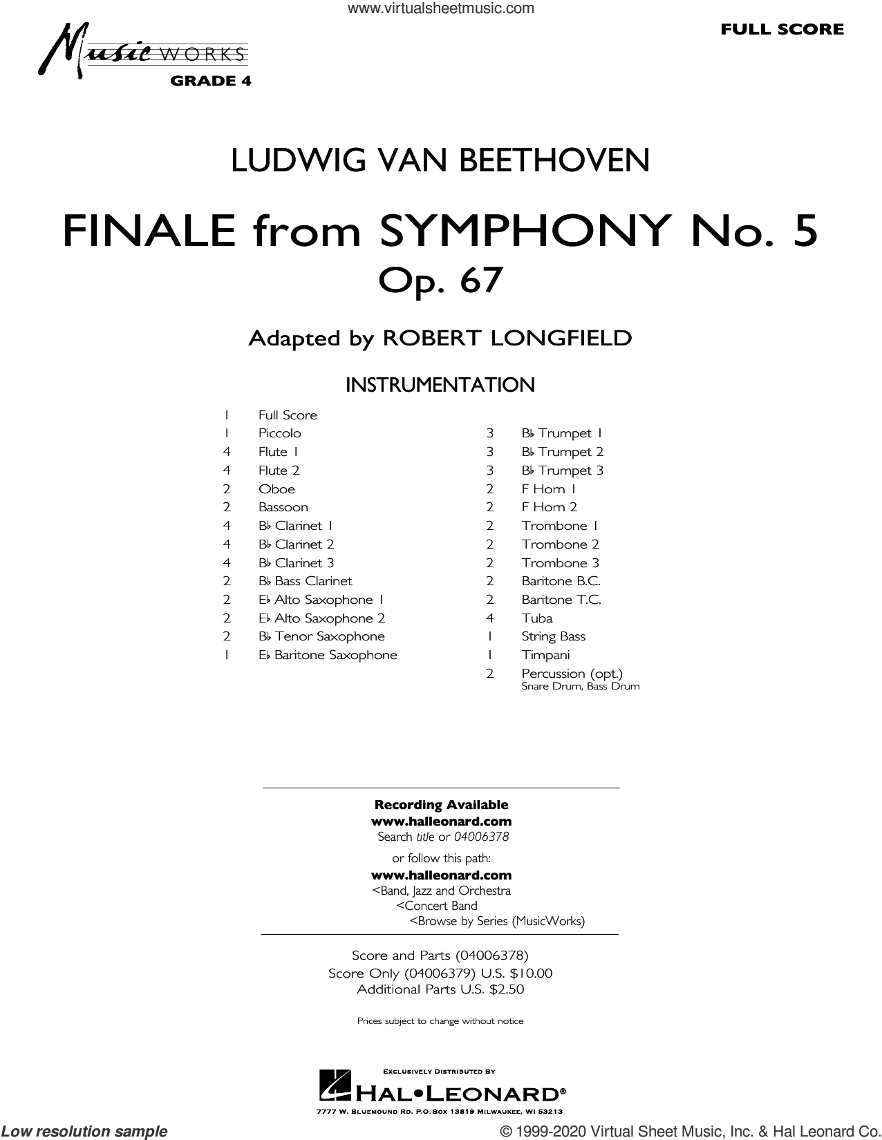 Finale from Symphony No. 5 (arr. Robert Longfield) (COMPLETE) sheet music for concert band by Ludwig van Beethoven and Robert Longfield, classical score, intermediate skill level