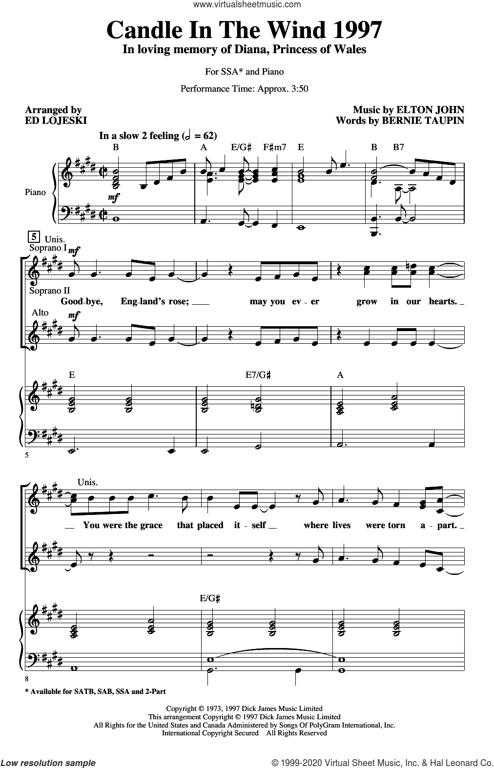 Candle In The Wind (arr. Ed Lojeski) sheet music for choir (SSA: soprano, alto) by Elton John, Ed Lojeski and Bernie Taupin, intermediate skill level