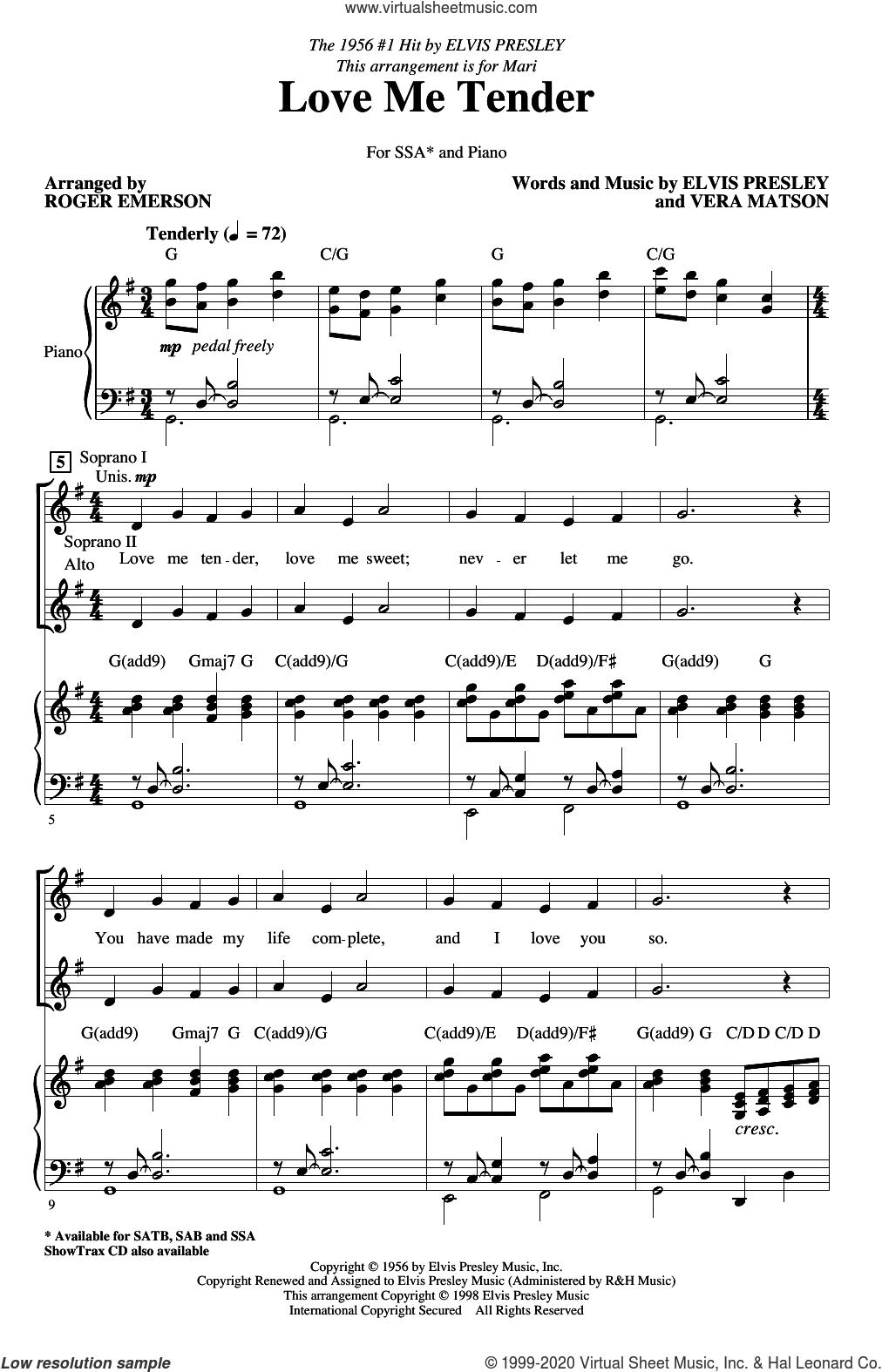 Love Me Tender (arr. Roger Emerson) sheet music for choir (SSA: soprano, alto) by Elvis Presley, Roger Emerson and Vera Matson, intermediate skill level