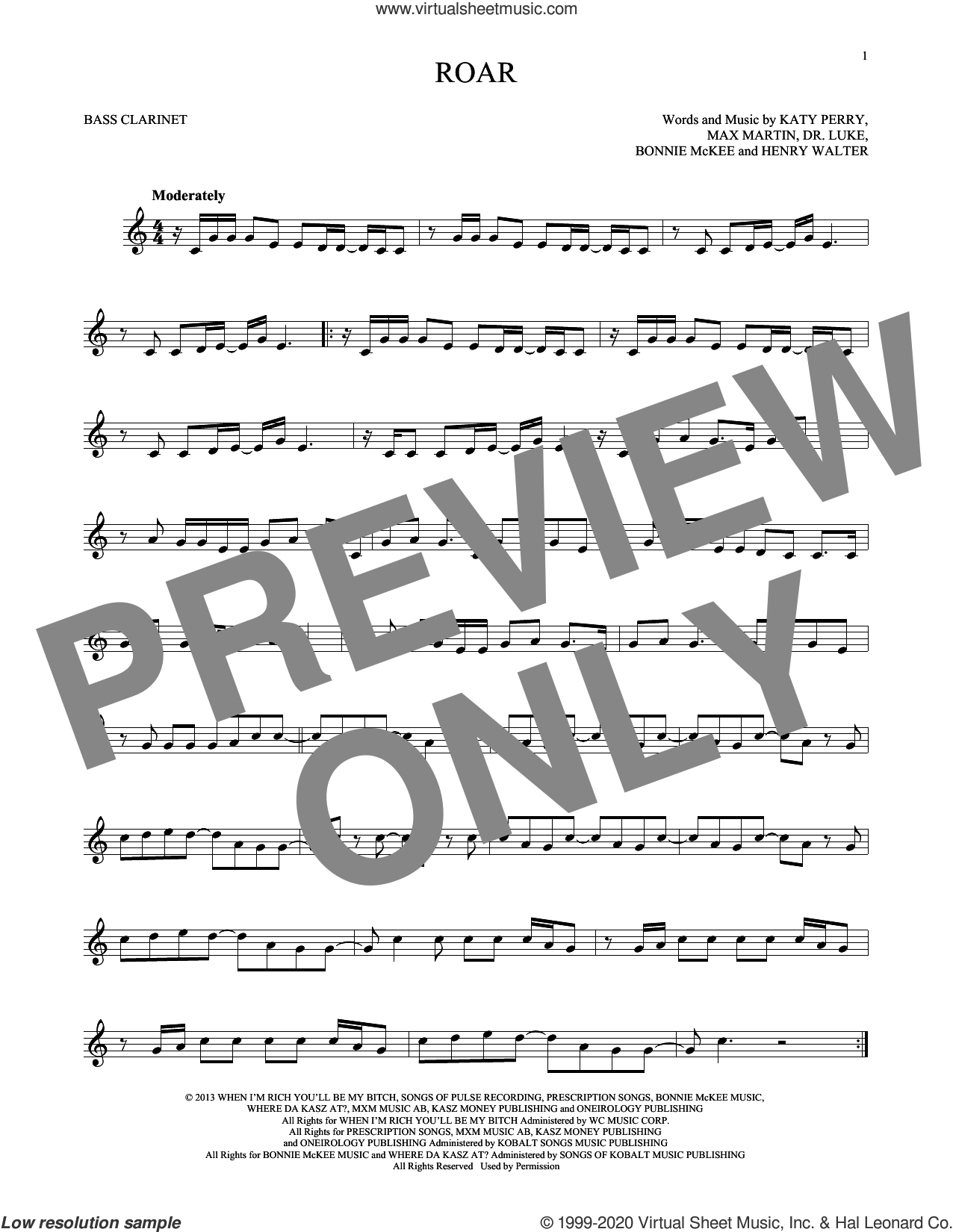 Roar sheet music for Bass Clarinet Solo (clarinetto basso) by Katy Perry, Bonnie McKee, Dr. Luke, Henry Walter, Lukasz Gottwald and Max Martin, intermediate skill level