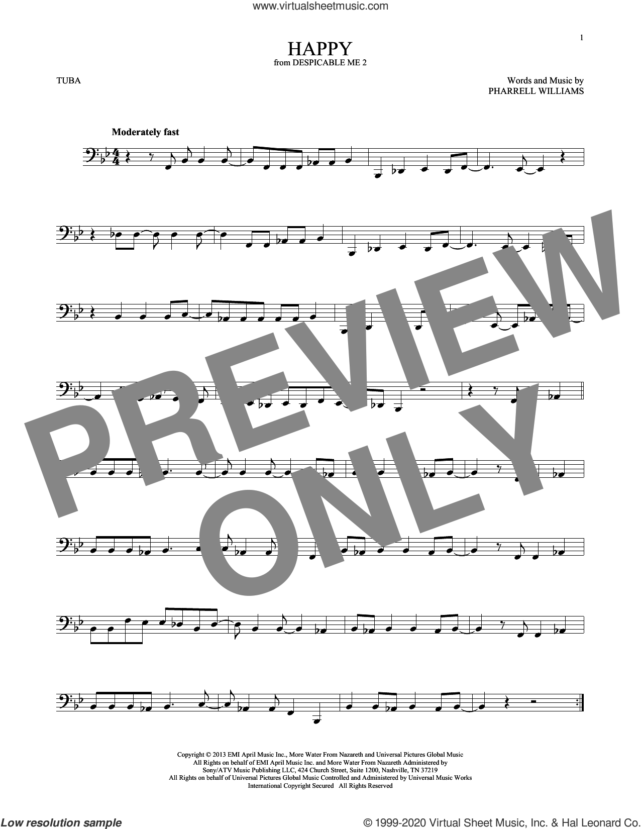 Happy (from Despicable Me 2) sheet music for Tuba Solo (tuba) by Pharrell Williams, intermediate skill level