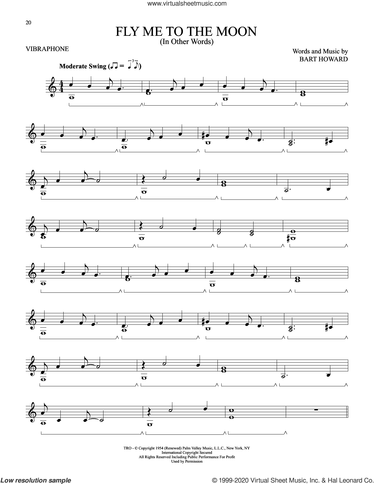 Fly Me To The Moon (In Other Words) sheet music for Vibraphone Solo by Tony Bennett and Bart Howard, intermediate skill level