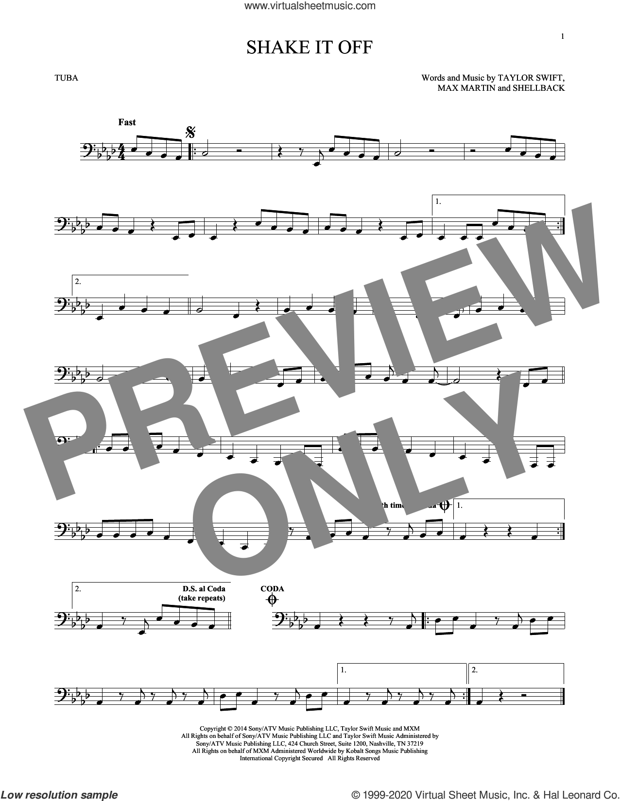 Shake It Off sheet music for Tuba Solo (tuba) by Taylor Swift, Johan Schuster, Max Martin and Shellback, intermediate skill level