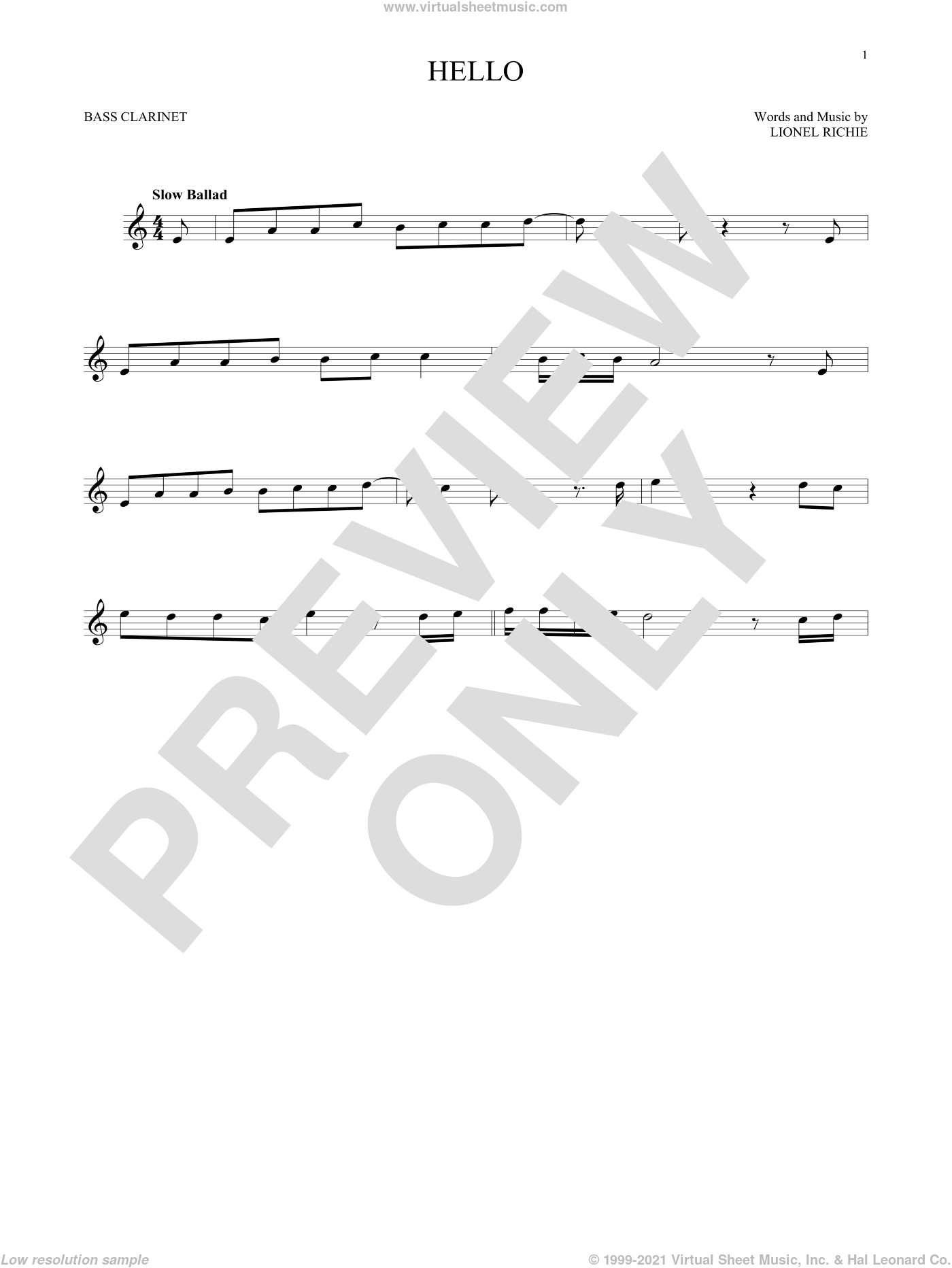 Hello sheet music for Bass Clarinet Solo (clarinetto basso) by Lionel Richie, intermediate skill level