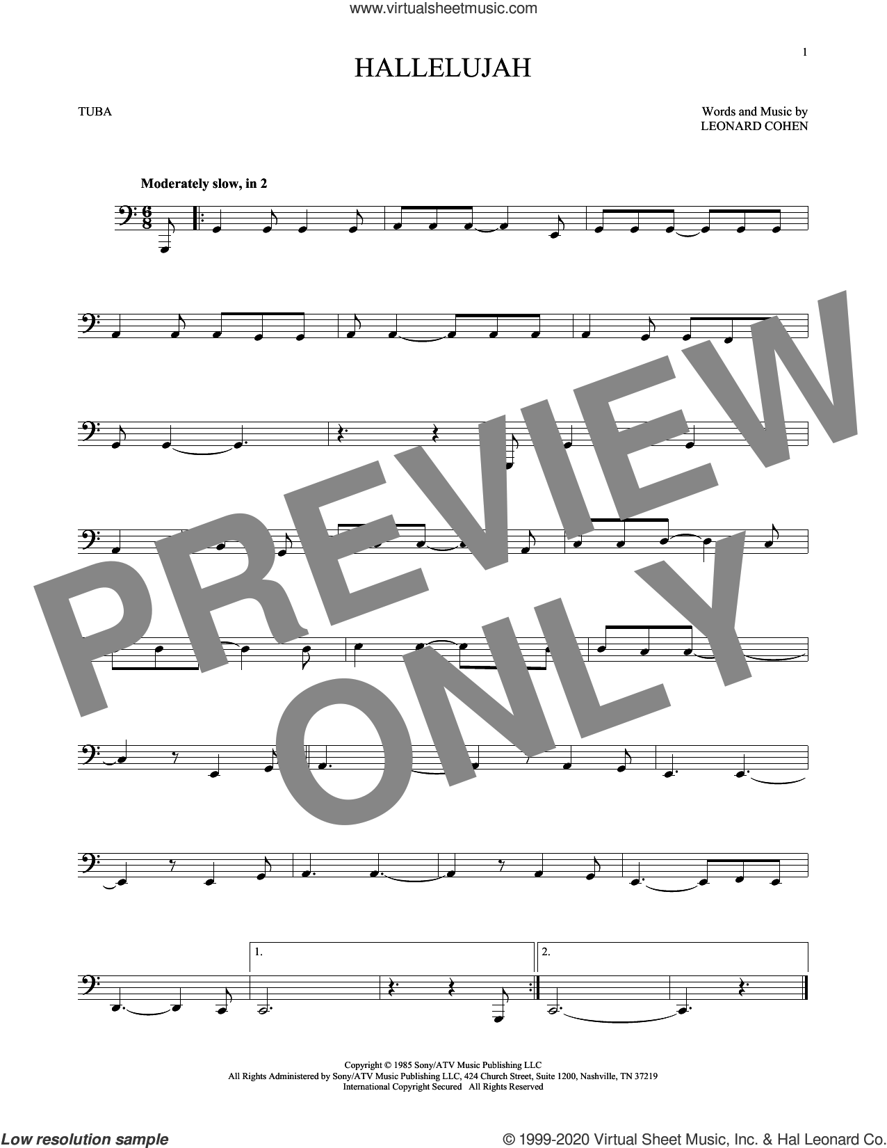Hallelujah sheet music for Tuba Solo (tuba) by Leonard Cohen, intermediate skill level