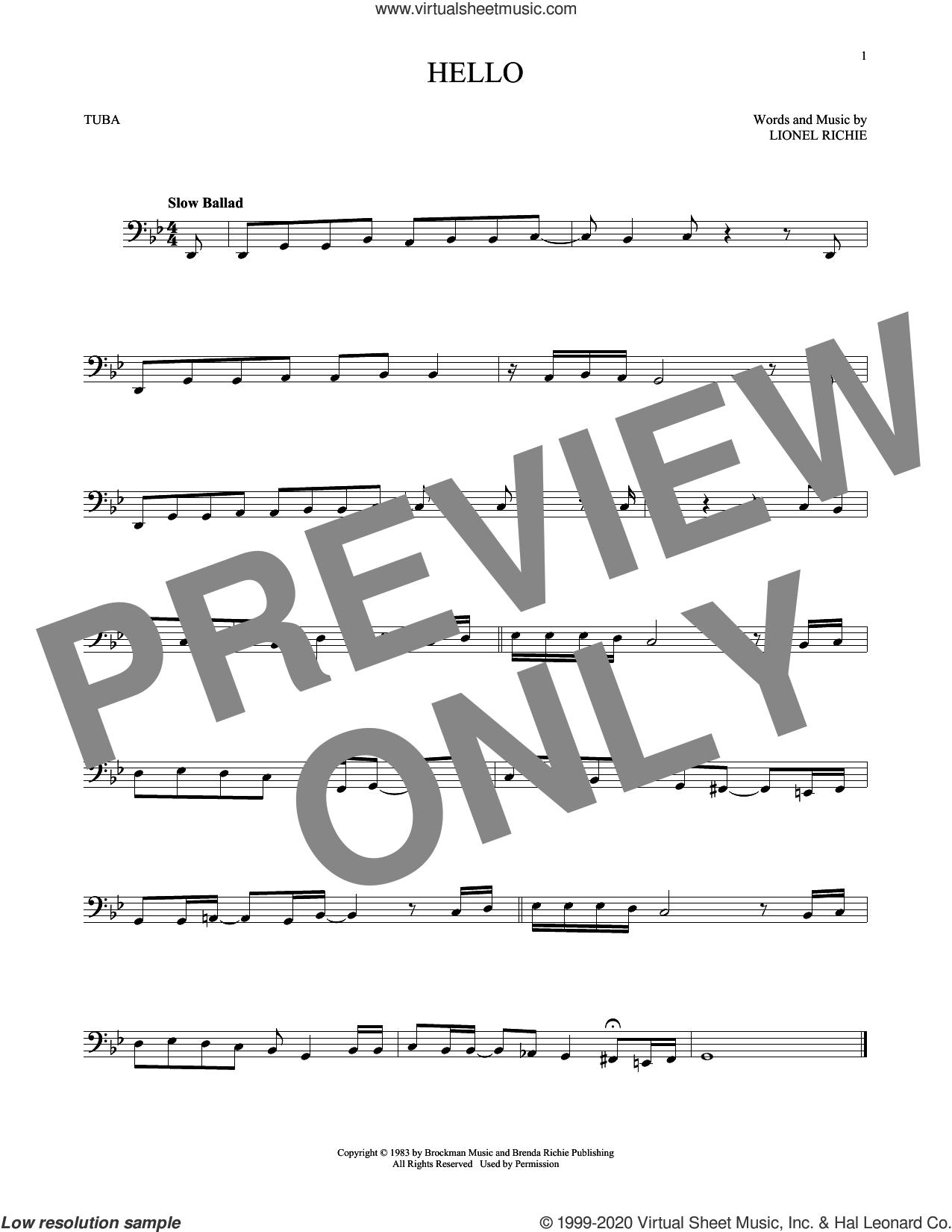 Hello sheet music for Tuba Solo (tuba) by Lionel Richie, intermediate skill level