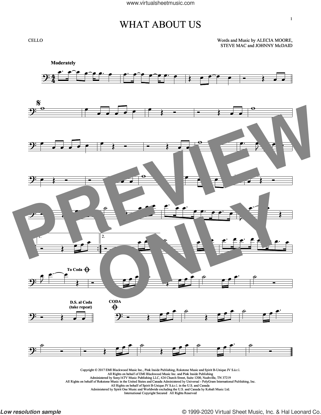 What About Us sheet music for cello solo by Steve Mac, Miscellaneous, Alecia Moore and Johnny McDaid, intermediate skill level