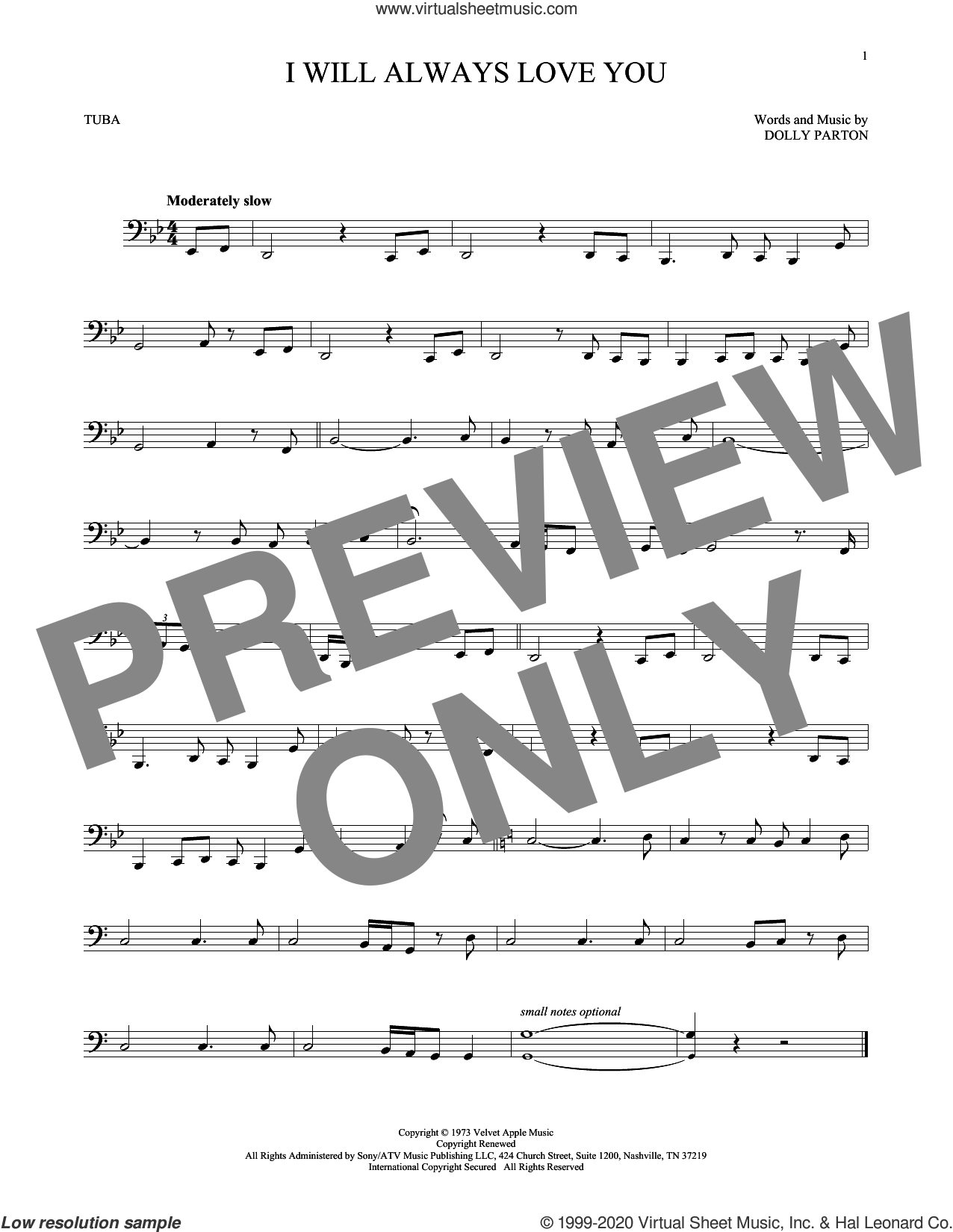 I Will Always Love You sheet music for Tuba Solo (tuba) by Whitney Houston and Dolly Parton, intermediate skill level