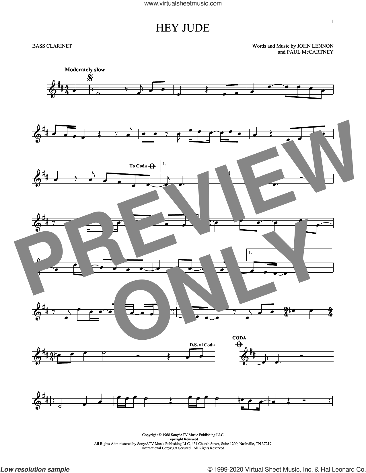 Hey Jude sheet music for Bass Clarinet Solo (clarinetto basso) by The Beatles, John Lennon and Paul McCartney, intermediate skill level