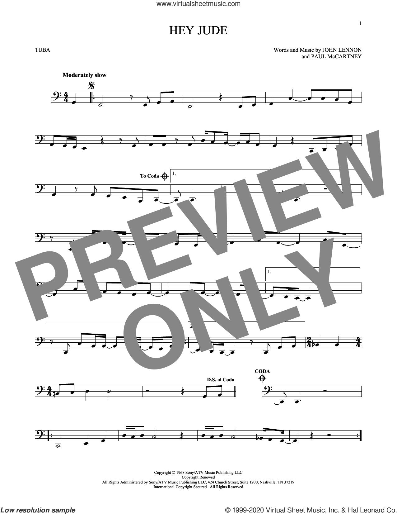 Hey Jude sheet music for Tuba Solo (tuba) by The Beatles, John Lennon and Paul McCartney, intermediate skill level