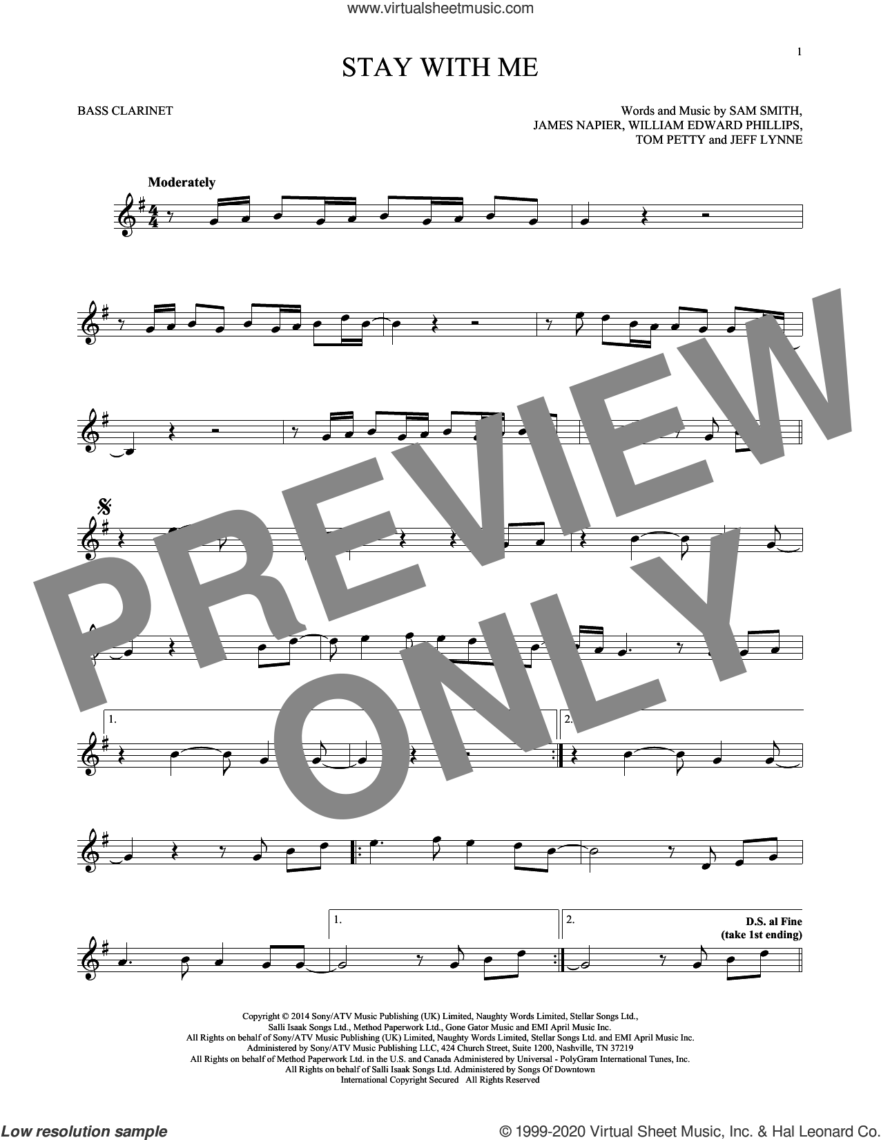 Stay With Me sheet music for Bass Clarinet Solo (clarinetto basso) by Sam Smith, James Napier, Jeff Lynne, Tom Petty and William Edward Phillips, intermediate skill level