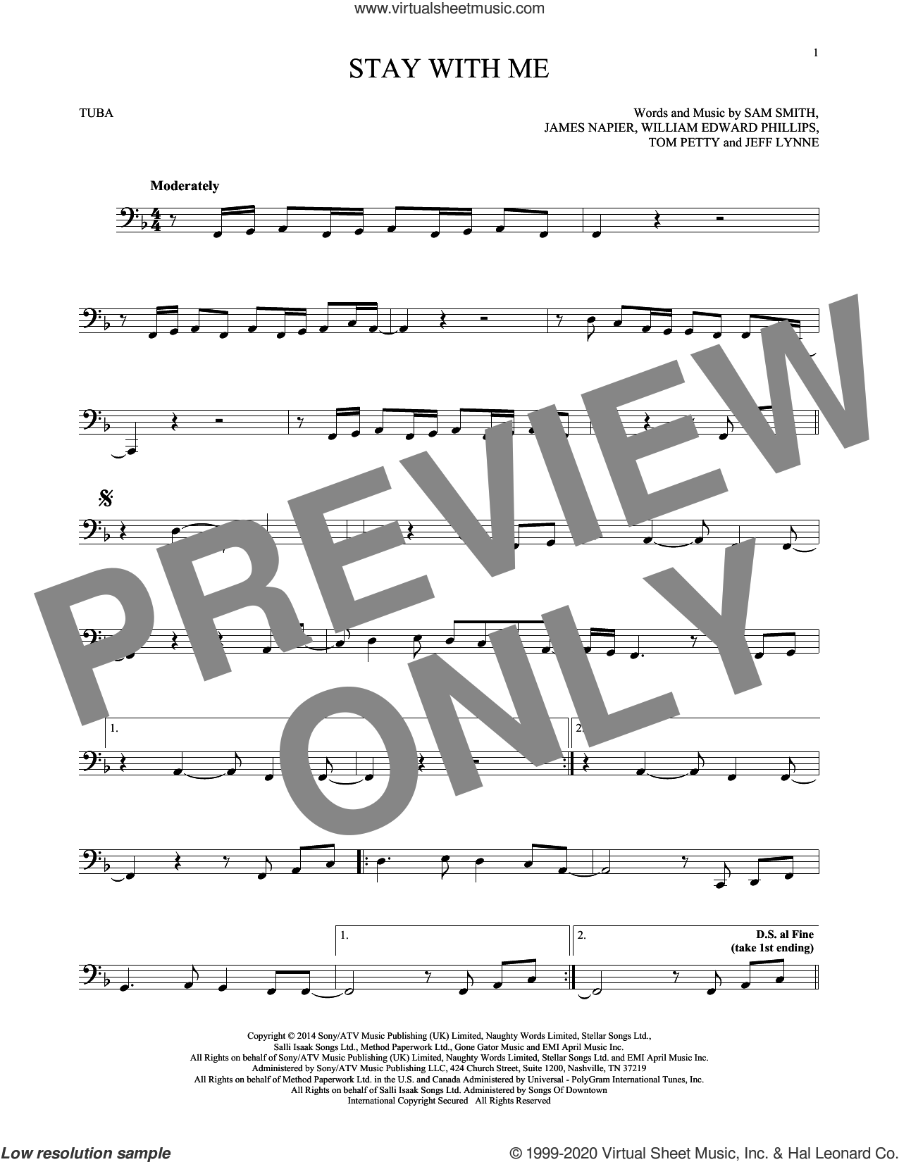 Stay With Me sheet music for Tuba Solo (tuba) by Sam Smith, James Napier, Jeff Lynne, Tom Petty and William Edward Phillips, intermediate skill level