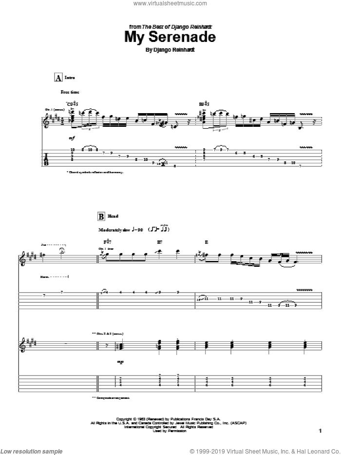 My Serenade sheet music for guitar (tablature) by Django Reinhardt, intermediate skill level