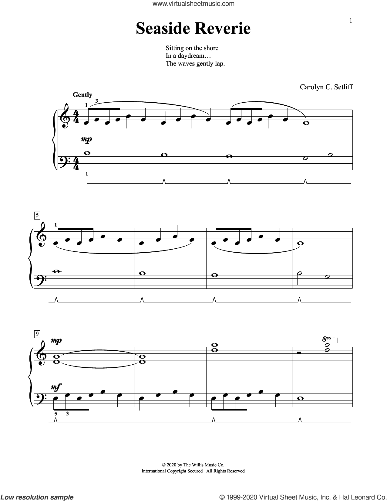 Seaside Reverie sheet music for piano solo (elementary) by Carolyn C. Setliff, beginner piano (elementary)