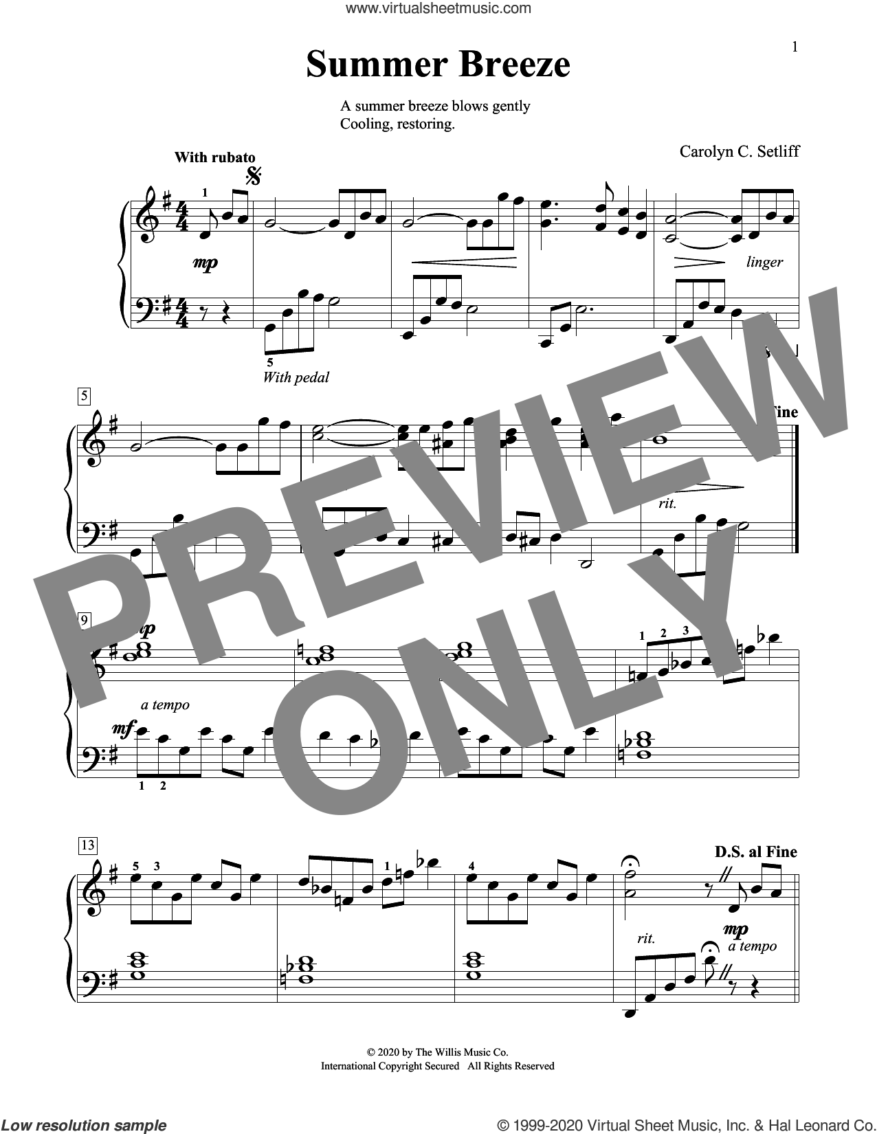 Summer Breeze sheet music for piano solo (elementary) by Carolyn C. Setliff, beginner piano (elementary)