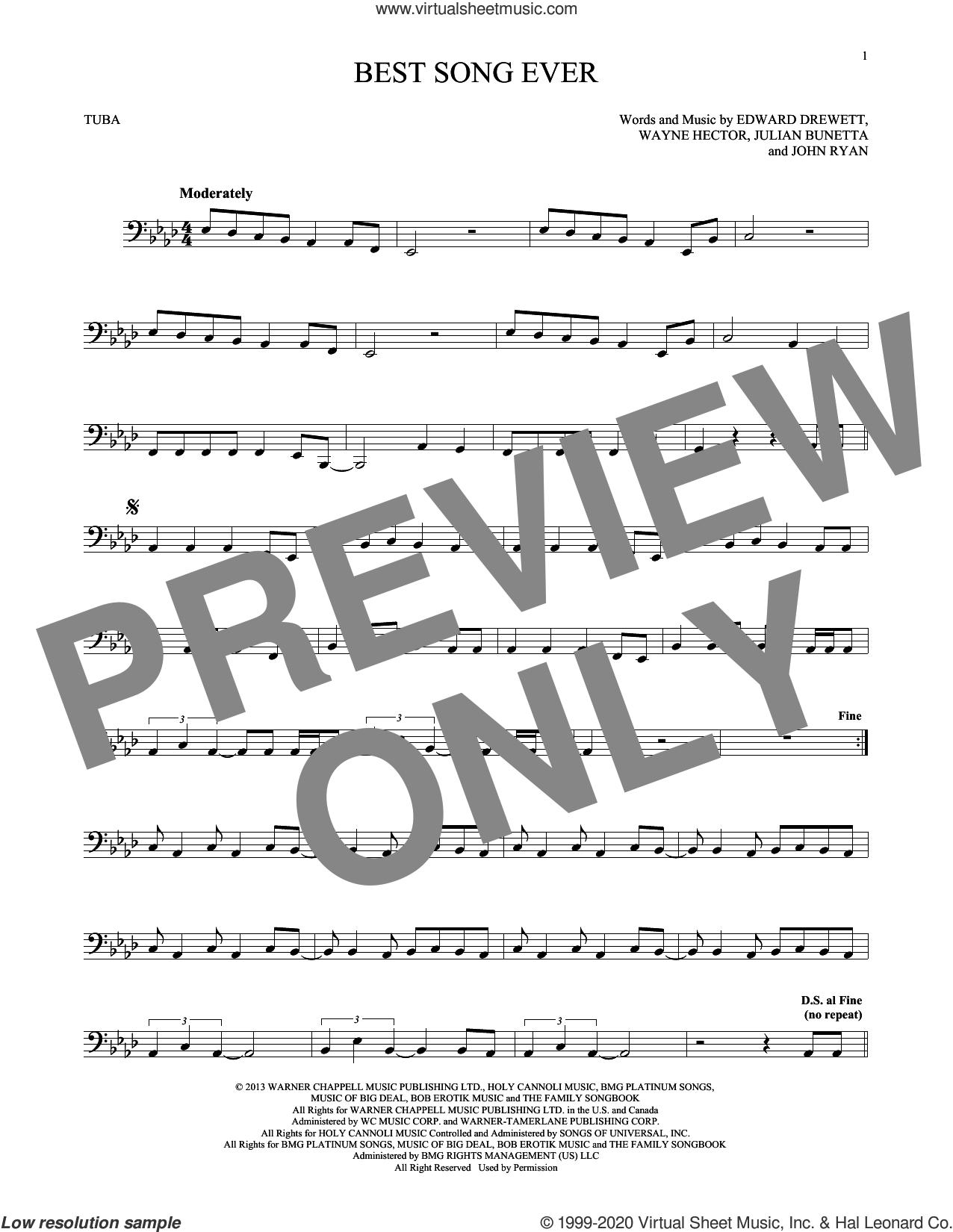 Best Song Ever sheet music for Tuba Solo (tuba) by One Direction, Edward Drewett, John Ryan, Julian Bunetta and Wayne Hector, intermediate skill level