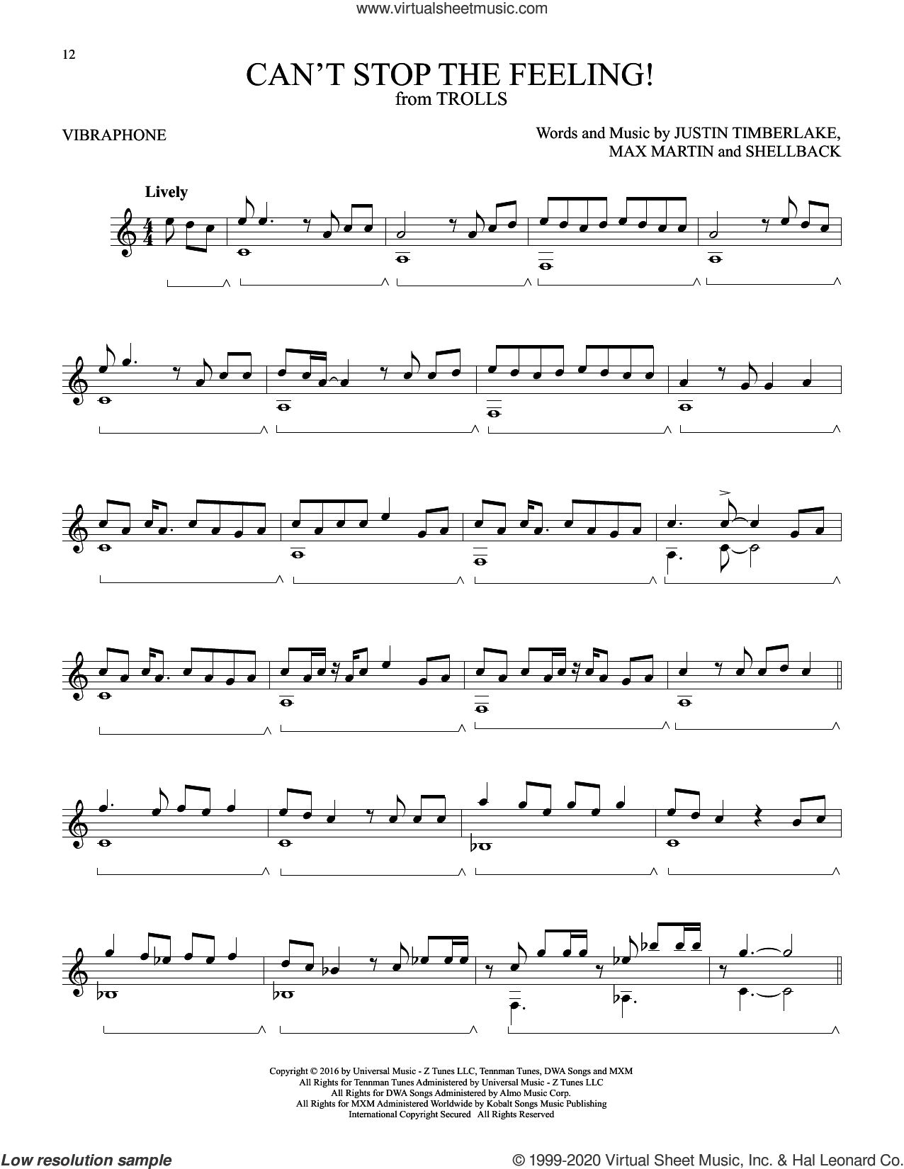 Can't Stop The Feeling! sheet music for Vibraphone Solo by Justin Timberlake, Johan Schuster, Max Martin and Shellback, intermediate skill level
