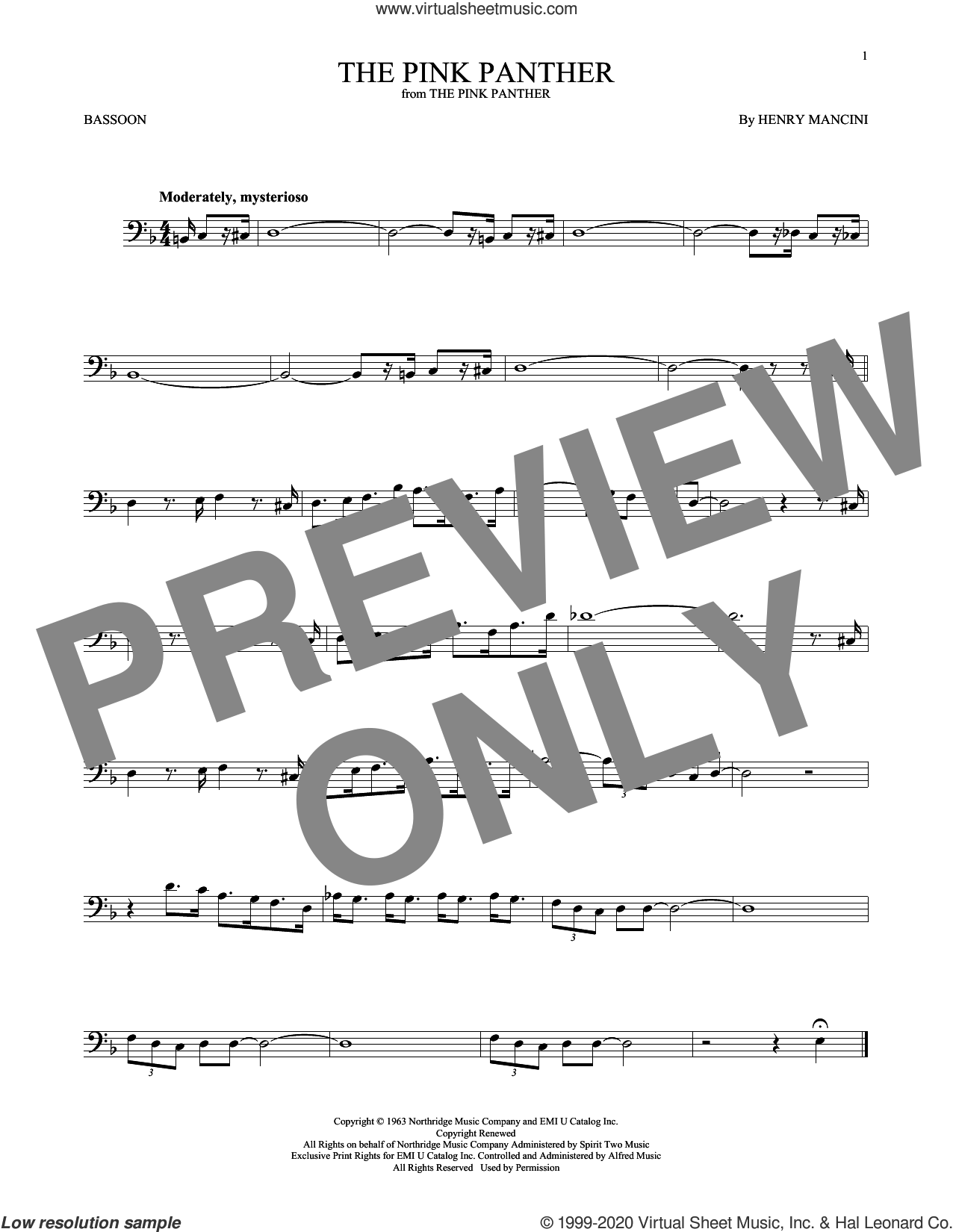 The Pink Panther sheet music for Bassoon Solo by Henry Mancini, intermediate skill level