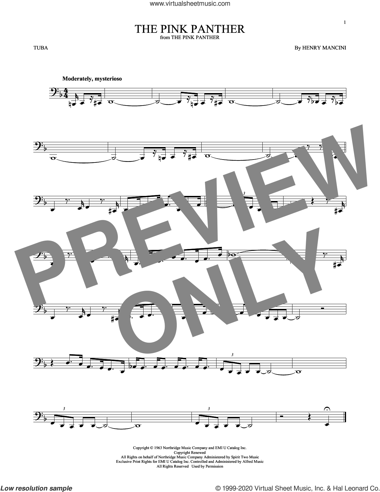 The Pink Panther sheet music for Tuba Solo (tuba) by Henry Mancini, intermediate skill level