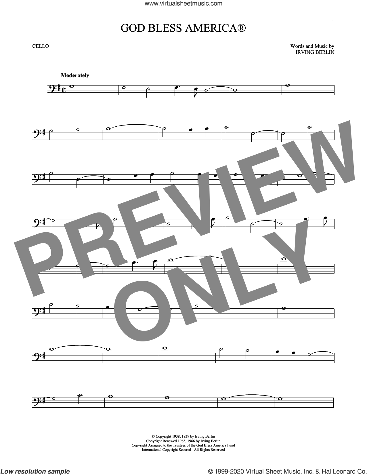 God Bless America sheet music for cello solo by Irving Berlin, intermediate skill level