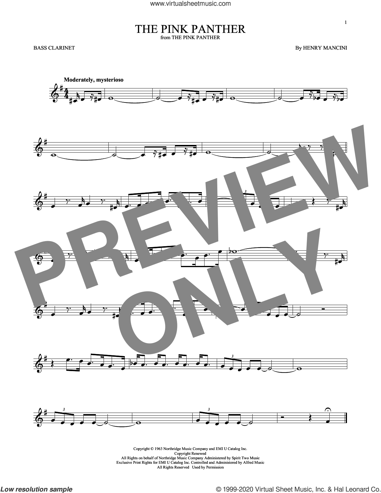 The Pink Panther sheet music for Bass Clarinet Solo (clarinetto basso) by Henry Mancini, intermediate skill level