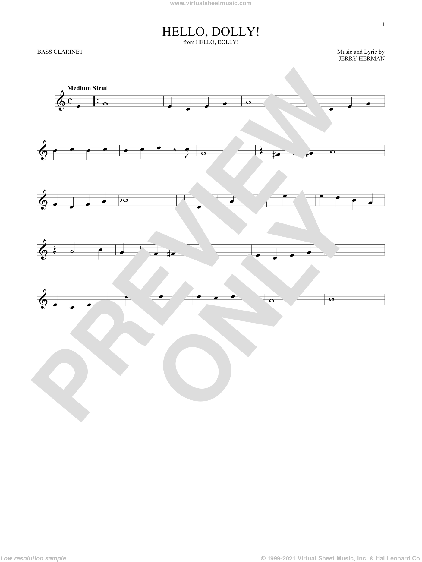 Hello, Dolly! sheet music for Bass Clarinet Solo (clarinetto basso) by Louis Armstrong and Jerry Herman, intermediate skill level
