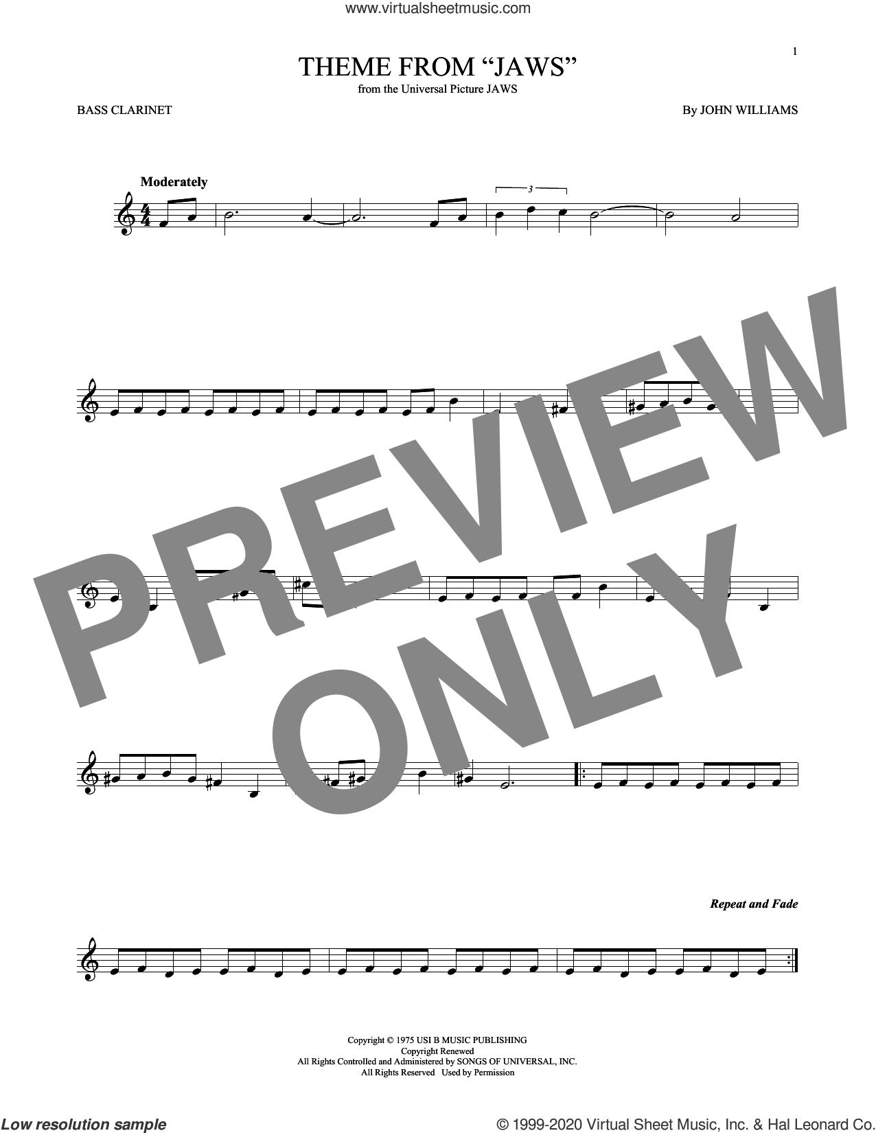 Theme from Jaws sheet music for Bass Clarinet Solo (clarinetto basso) by John Williams, intermediate skill level