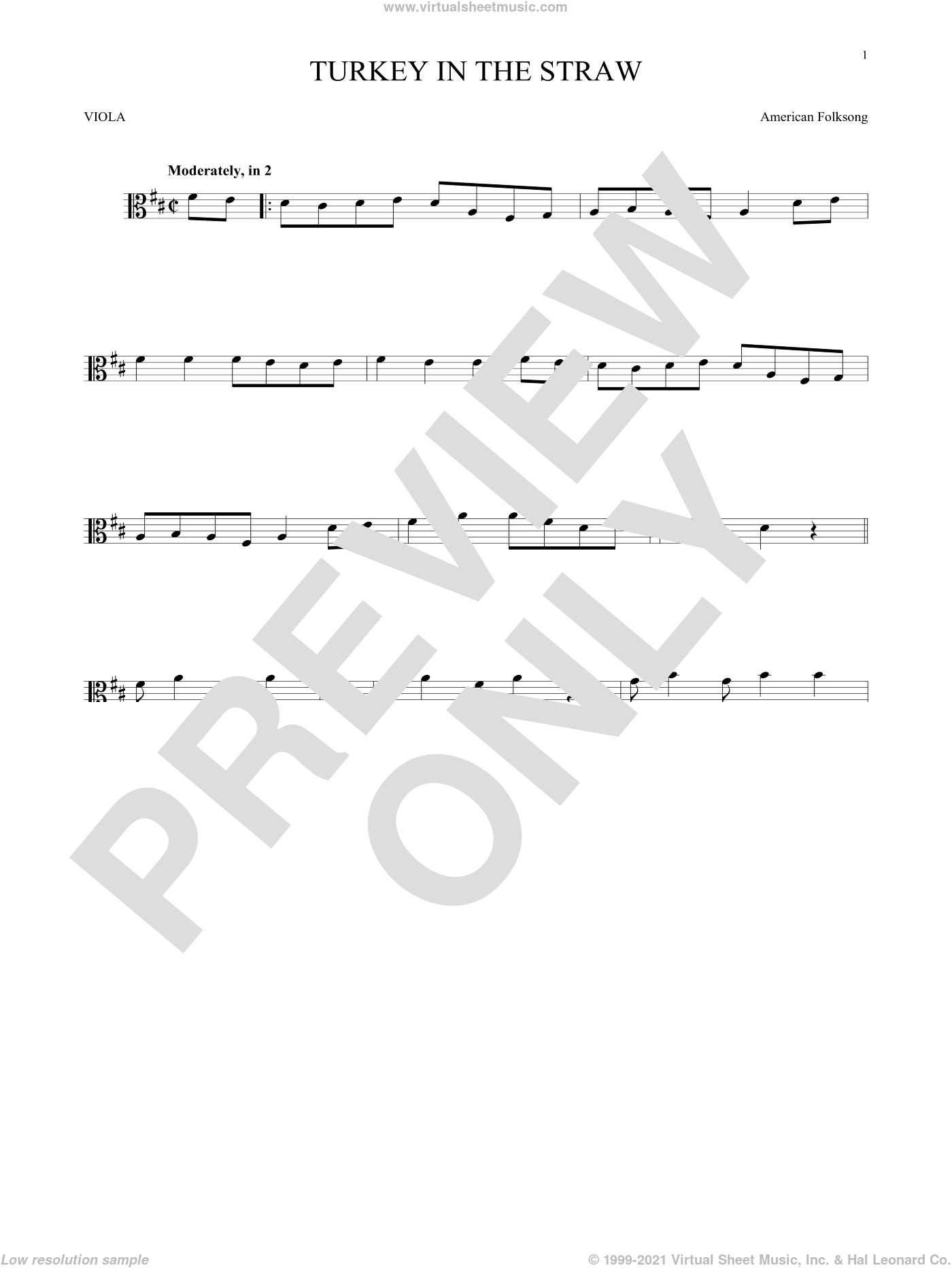 Turkey In The Straw sheet music for viola solo by American Folksong, intermediate skill level