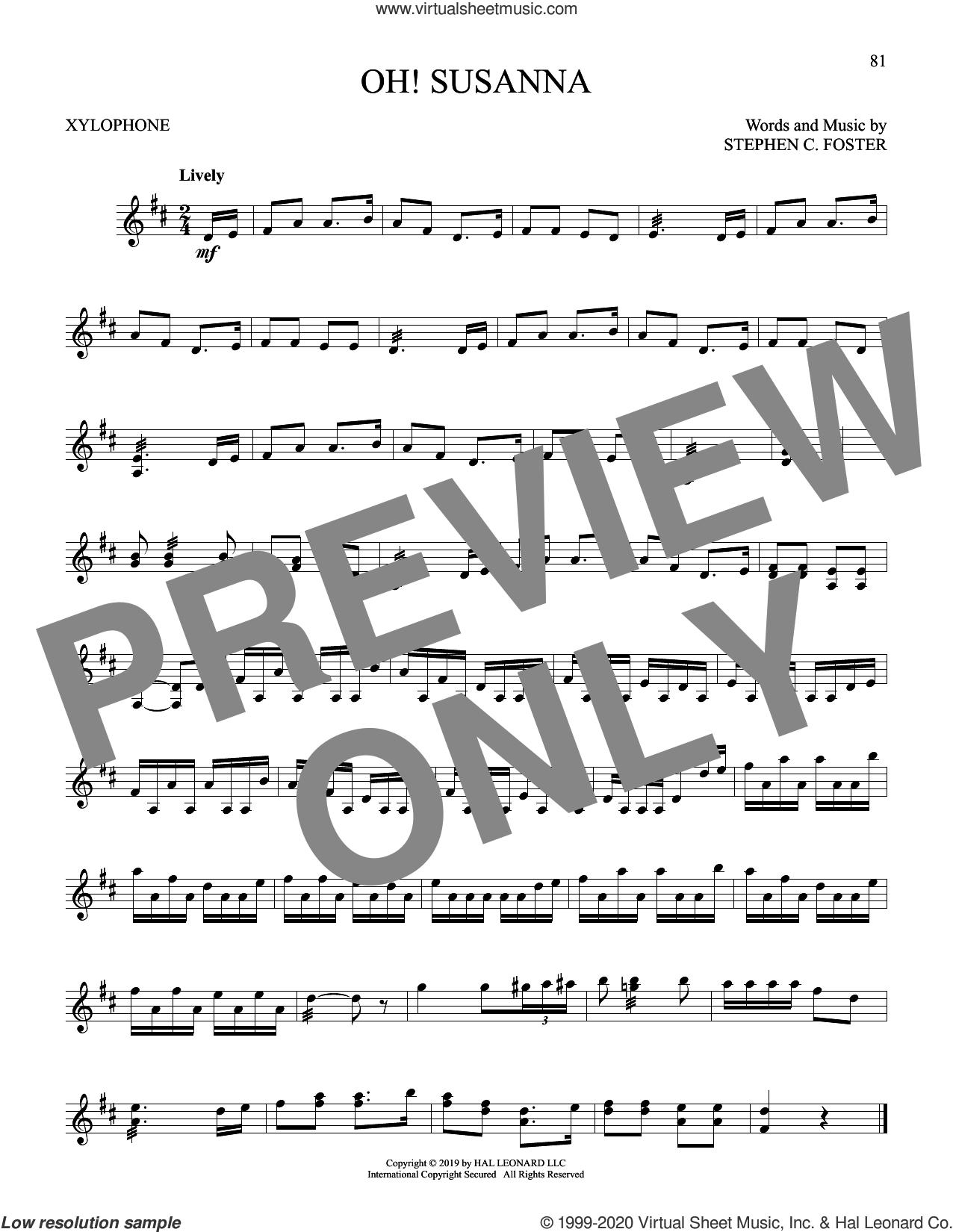 Oh! Susanna sheet music for Xylophone Solo (xilofone, xilofono, silofono) by Stephen Foster, intermediate skill level