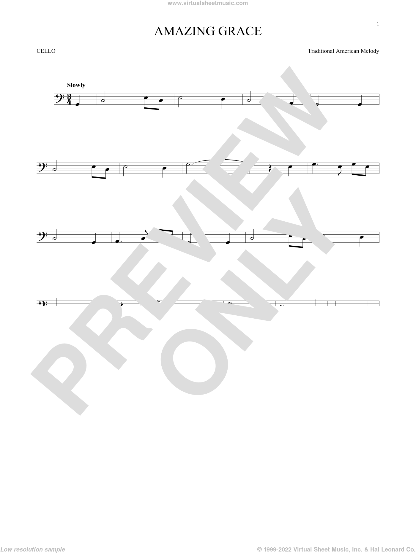 Amazing Grace sheet music for cello solo by John Newton, Edwin O. Excell and Miscellaneous, intermediate skill level