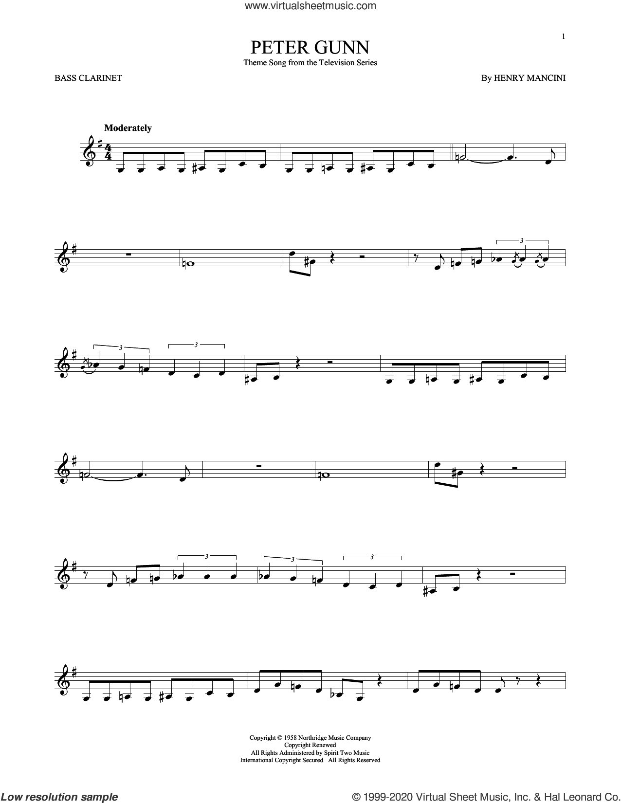 Peter Gunn sheet music for Bass Clarinet Solo (clarinetto basso) by Henry Mancini, intermediate skill level