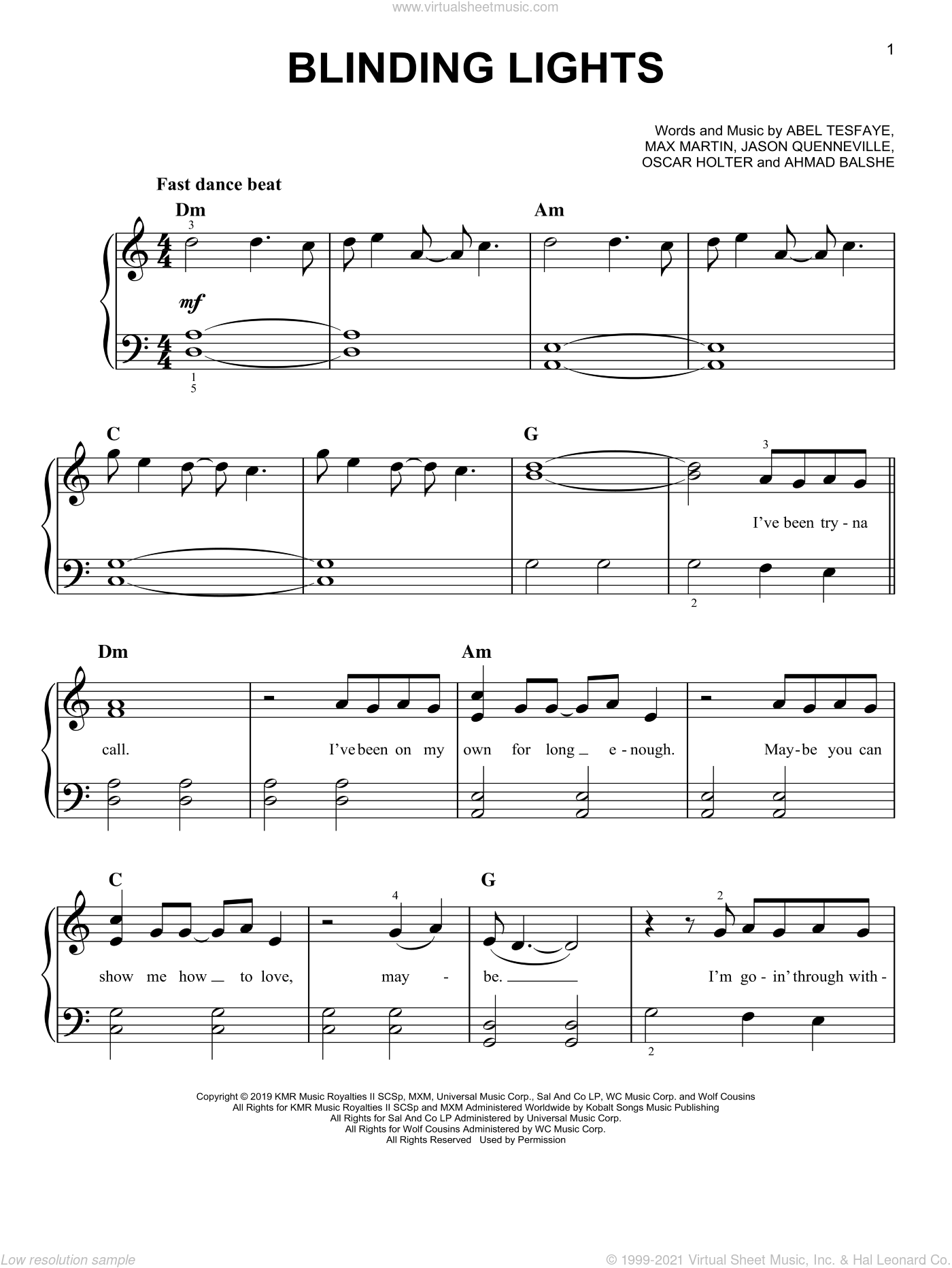 Blinding Lights sheet music for piano solo by The Weeknd, Abel Tesfaye, Ahmad Balshe, Jason Quenneville, Max Martin and Oscar Holter, easy skill level