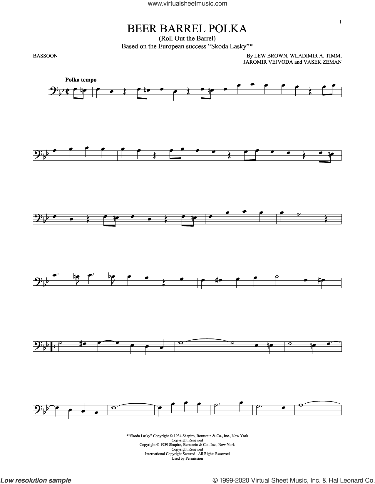 Beer Barrel Polka (Roll Out The Barrel) sheet music for Bassoon Solo by Bobby Vinton, Jaromir Vejvoda, Lew Brown, Vasek Zeman and Wladimir A. Timm, intermediate skill level