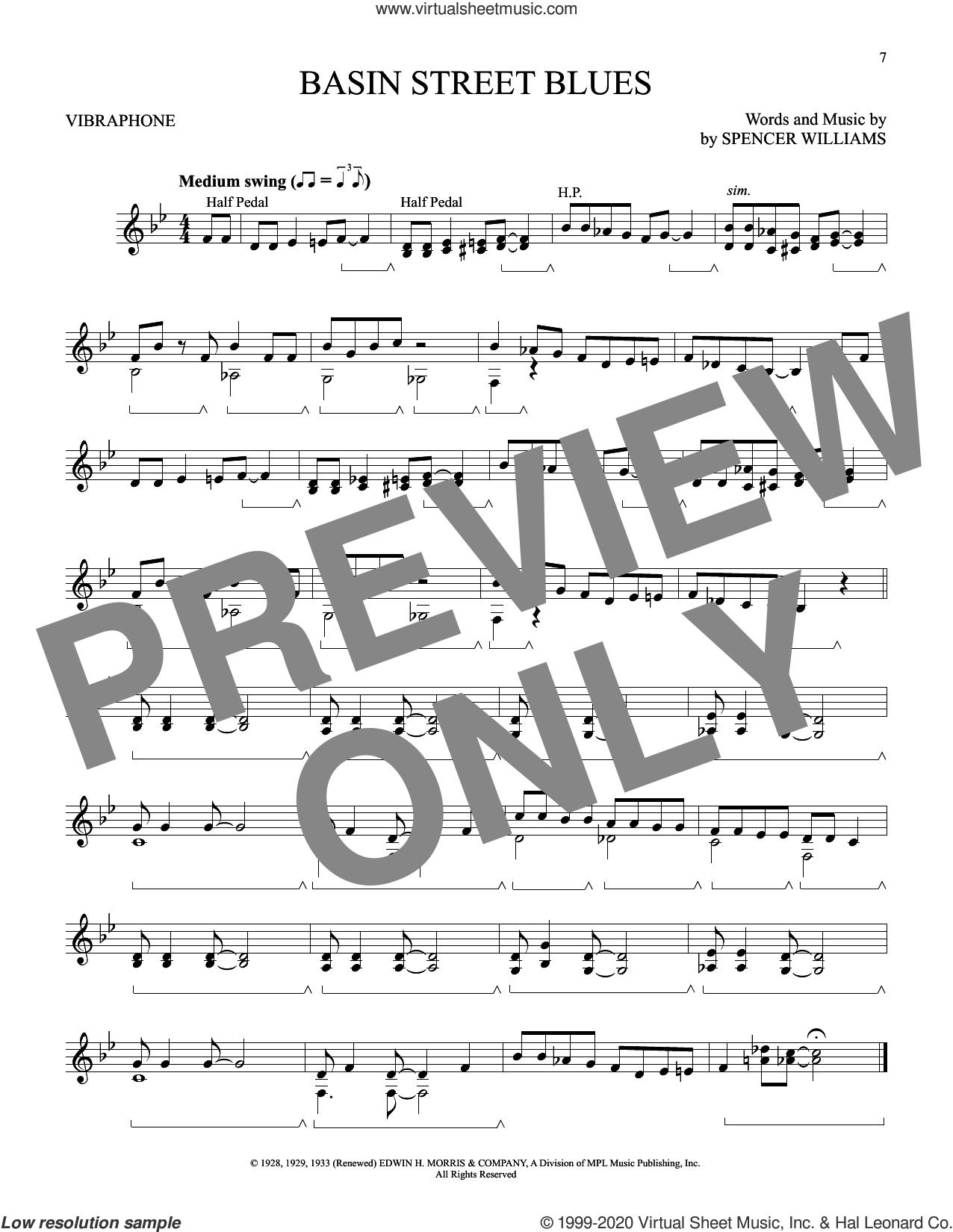 Basin Street Blues sheet music for Vibraphone Solo by Spencer Williams, intermediate skill level