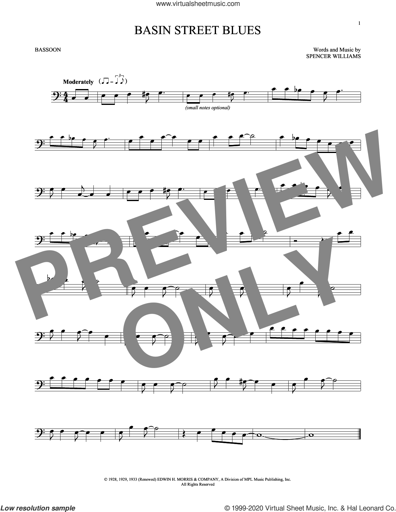 Basin Street Blues sheet music for Bassoon Solo by Spencer Williams, intermediate skill level