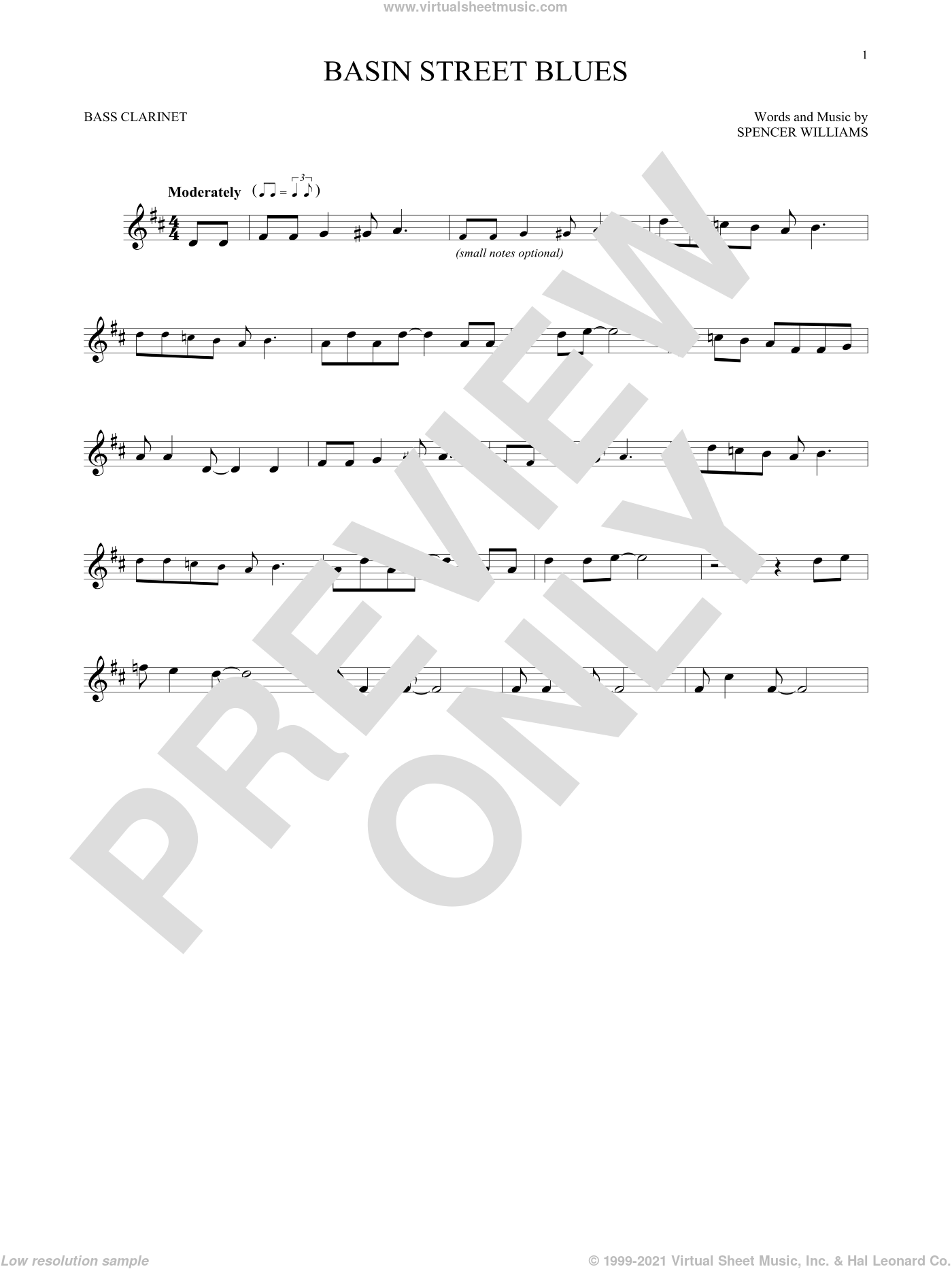 Basin Street Blues sheet music for Bass Clarinet Solo (clarinetto basso) by Spencer Williams, intermediate skill level