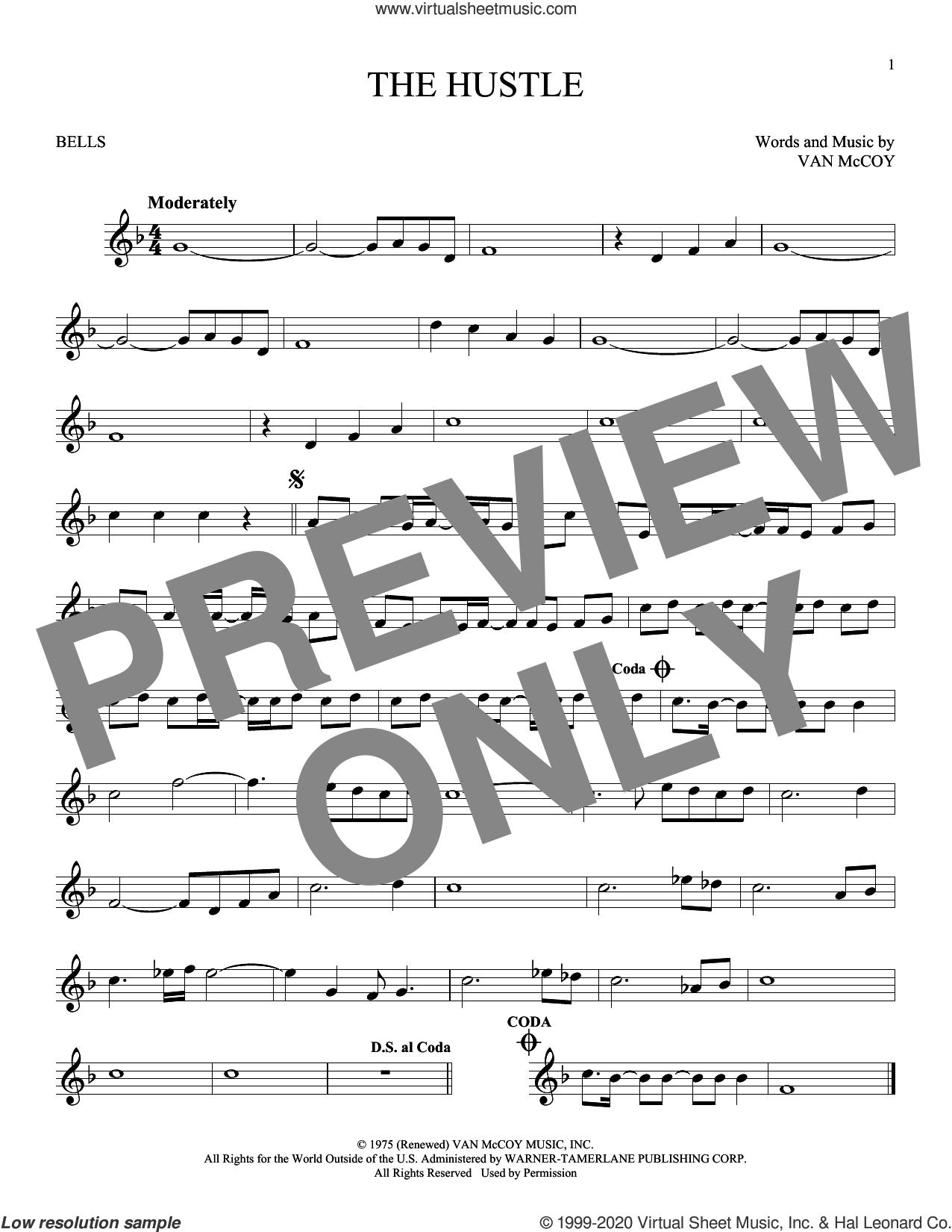 The Hustle sheet music for Hand Bells Solo (bell solo) by Van McCoy, intermediate Hand Bells Solo (bell)