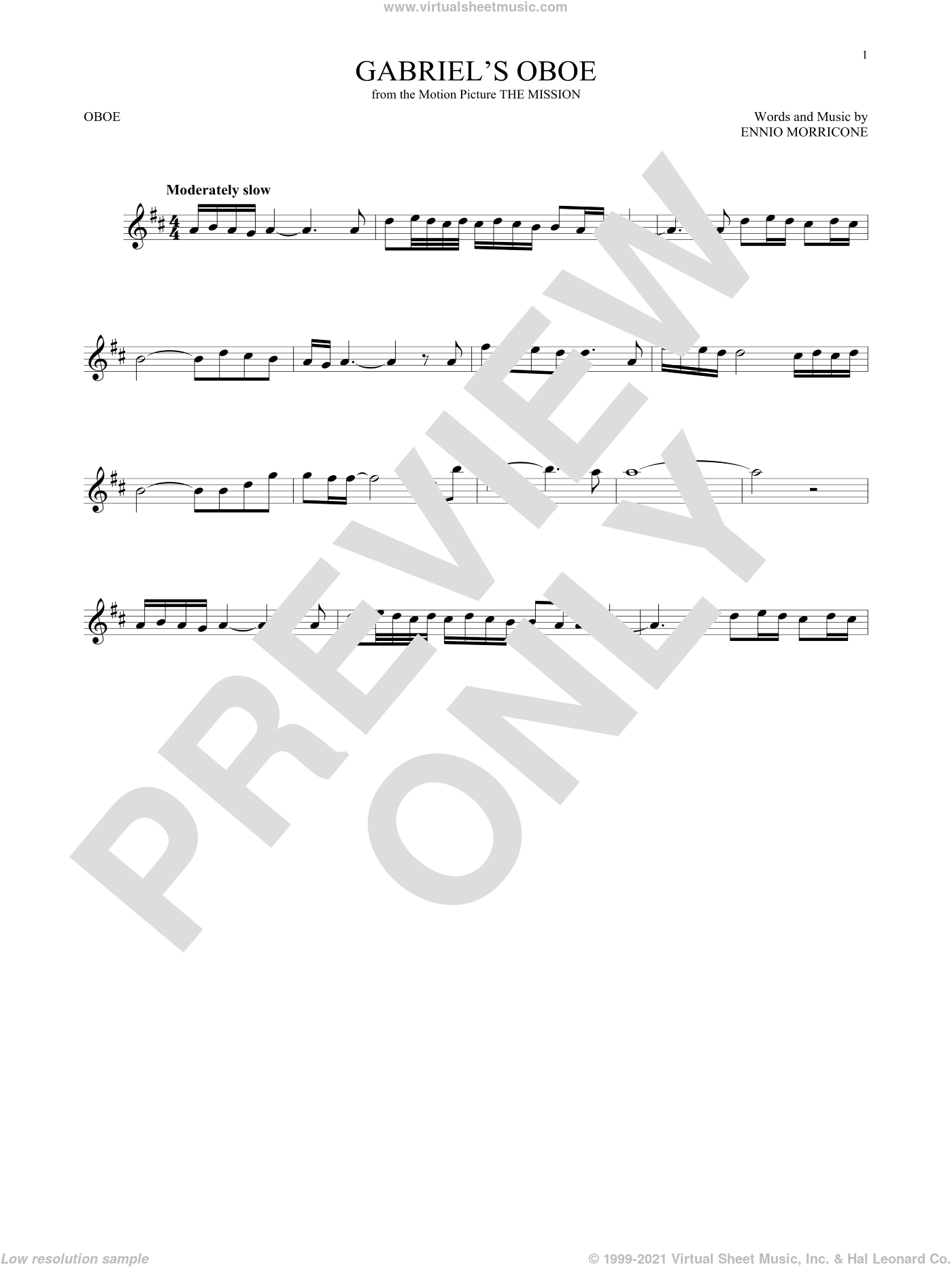 Gabriel's Oboe (from The Mission) sheet music for oboe solo by Ennio Morricone, classical score, intermediate skill level