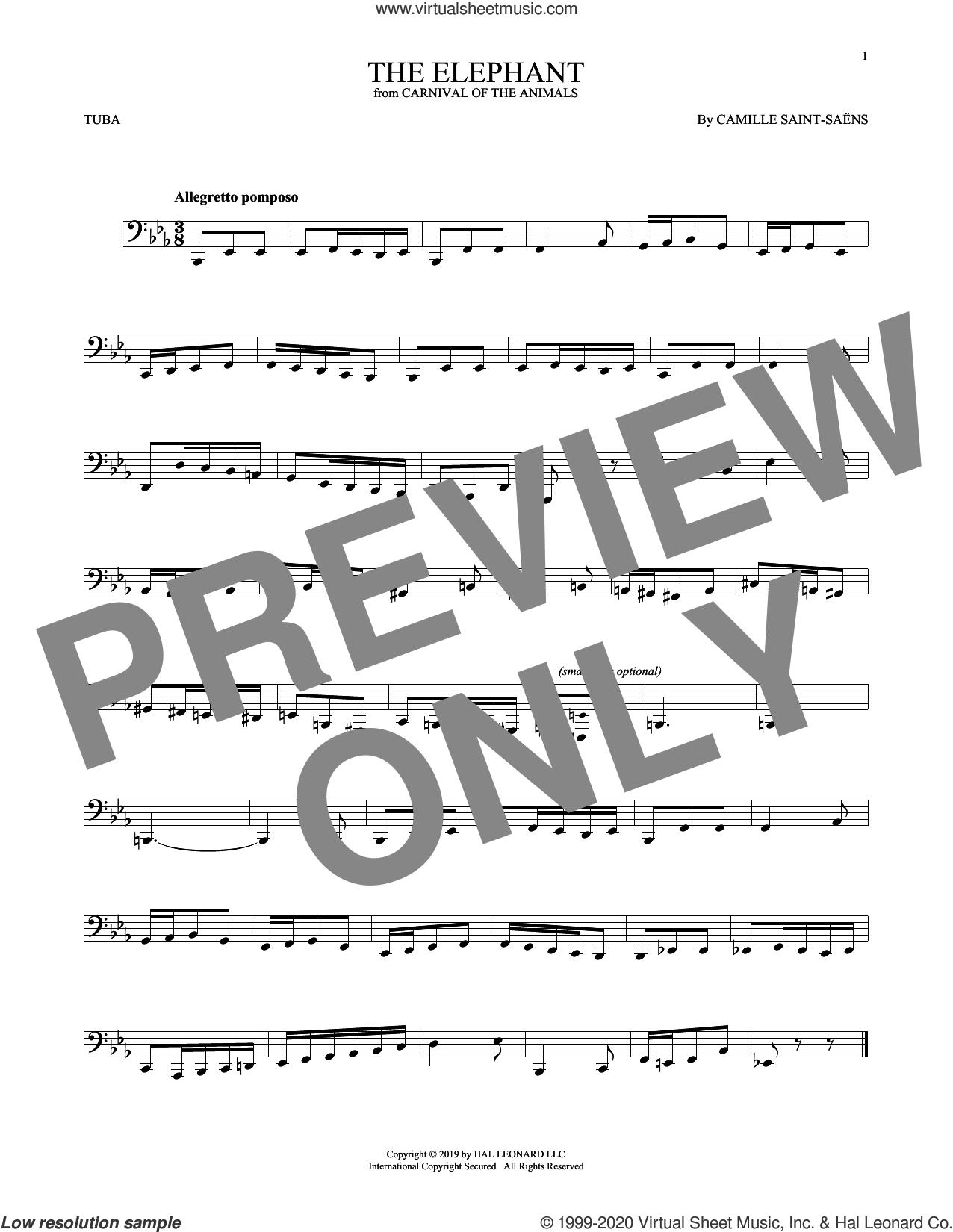 The Elephant sheet music for Tuba Solo (tuba) by Camille Saint-Saens, classical score, intermediate skill level