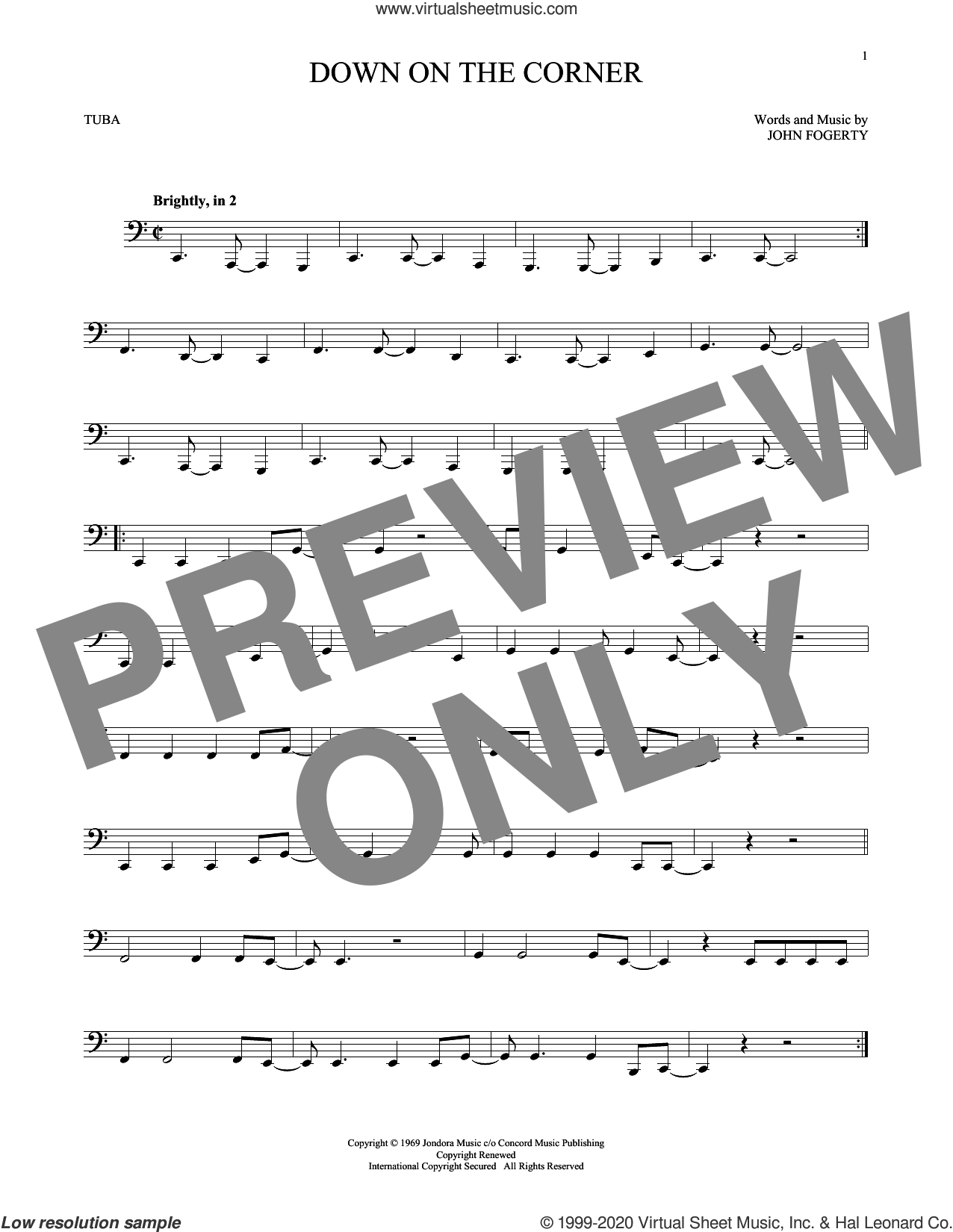 Down On The Corner sheet music for Tuba Solo (tuba) by Creedence Clearwater Revival and John Fogerty, intermediate skill level