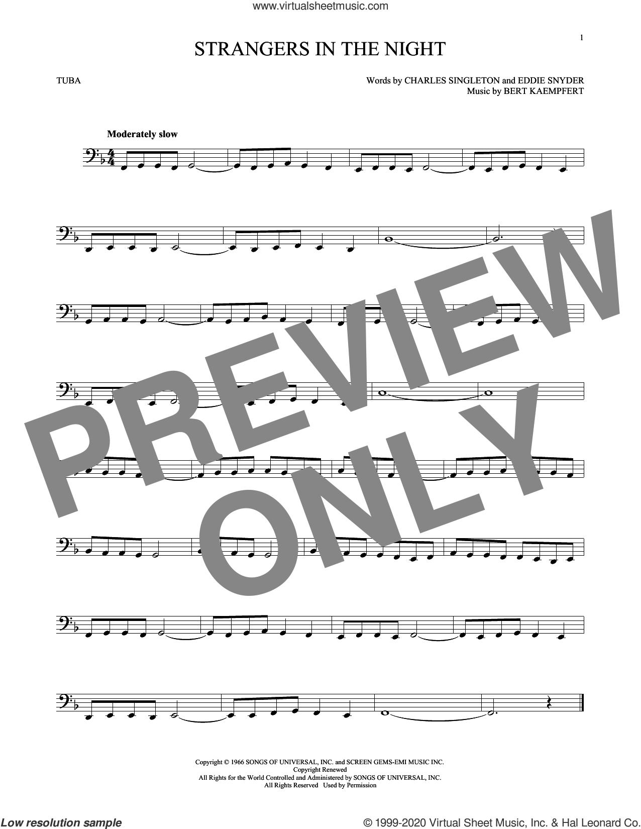 Strangers In The Night sheet music for Tuba Solo (tuba) by Frank Sinatra, Bert Kaempfert, Charles Singleton and Eddie Snyder, intermediate skill level